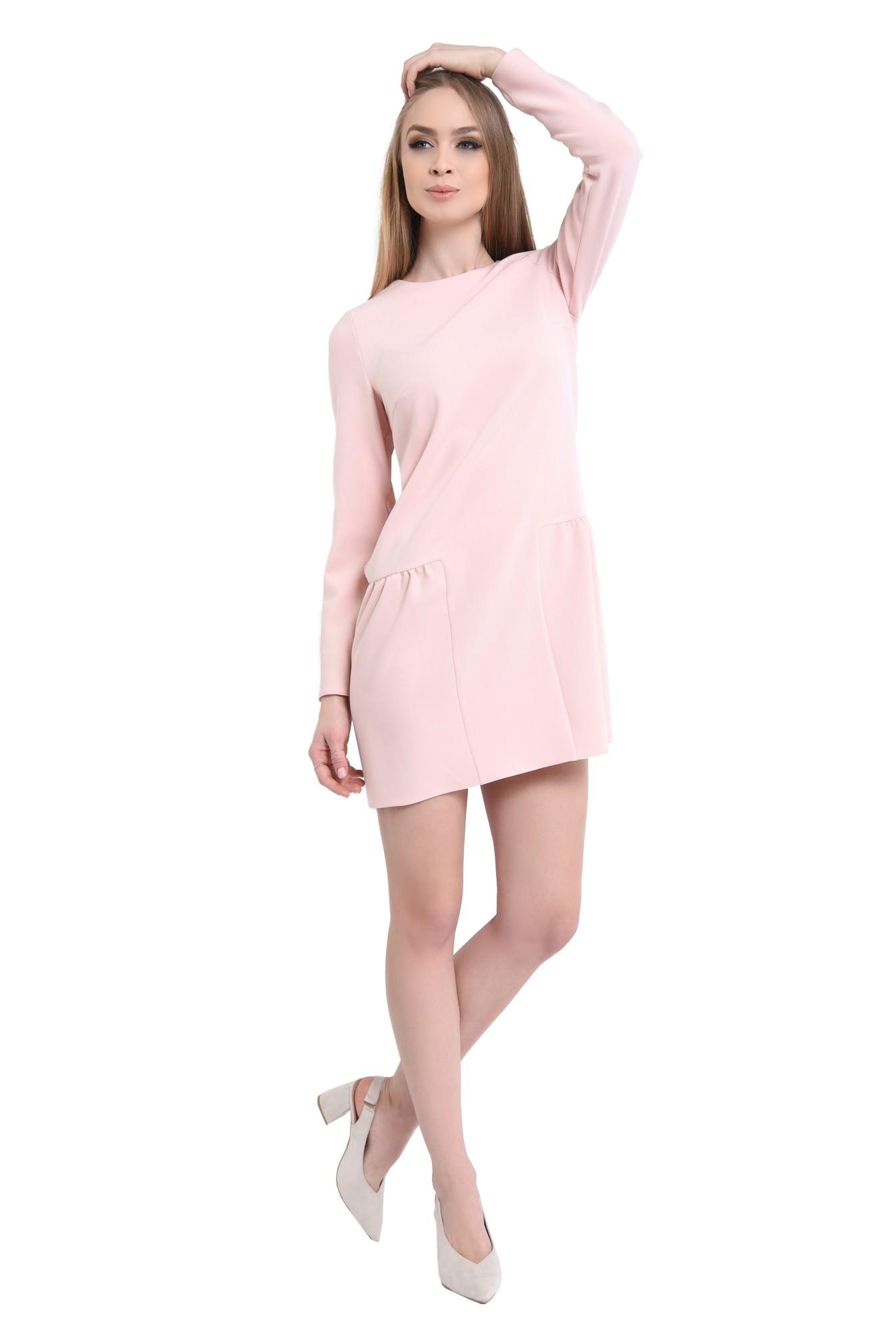 rochie mini, roz, maneci lungi, fermoar la spate, pliuri
