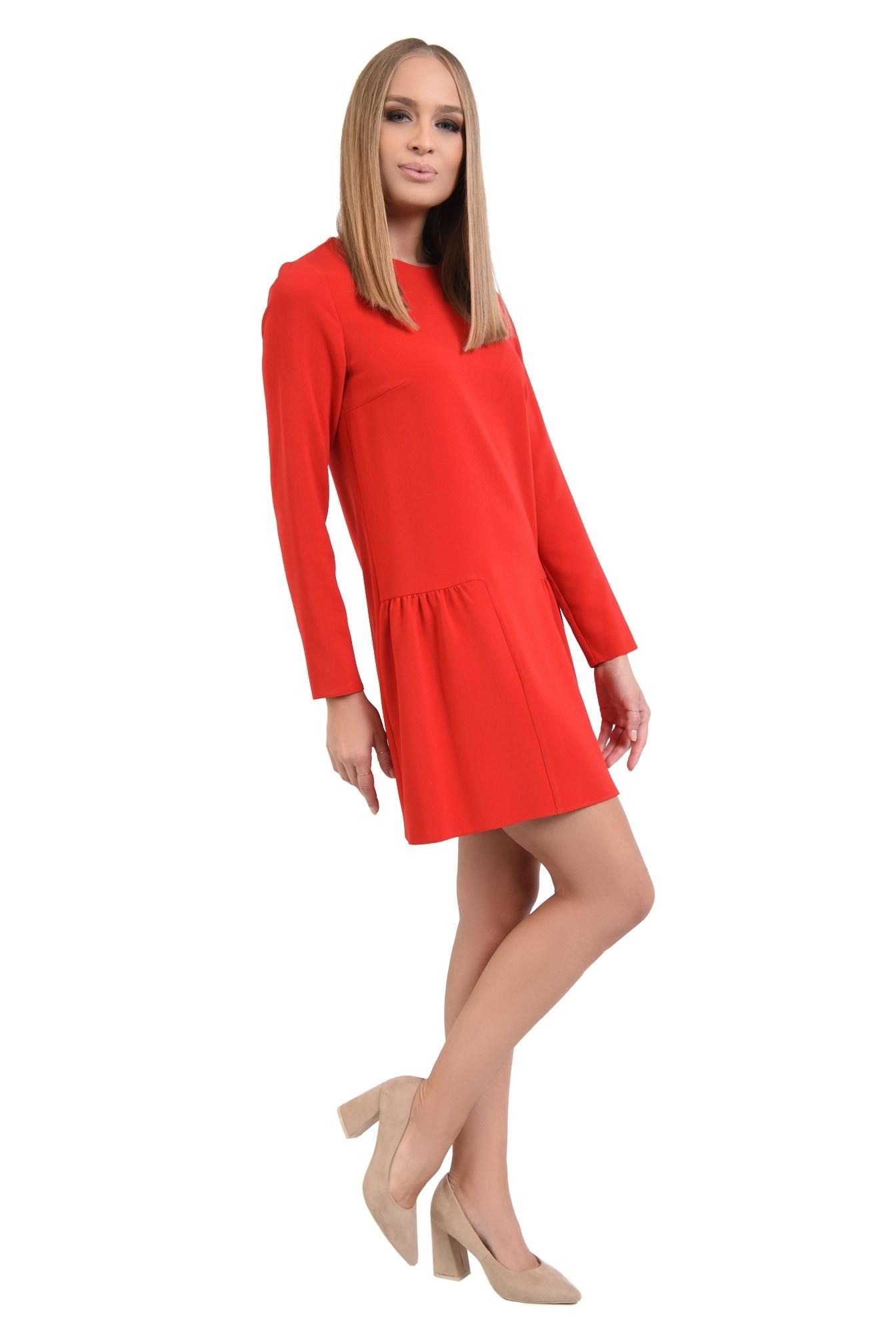 rochie casual, mini, rosu, maneci lungi, decolteu rotund, pliuri