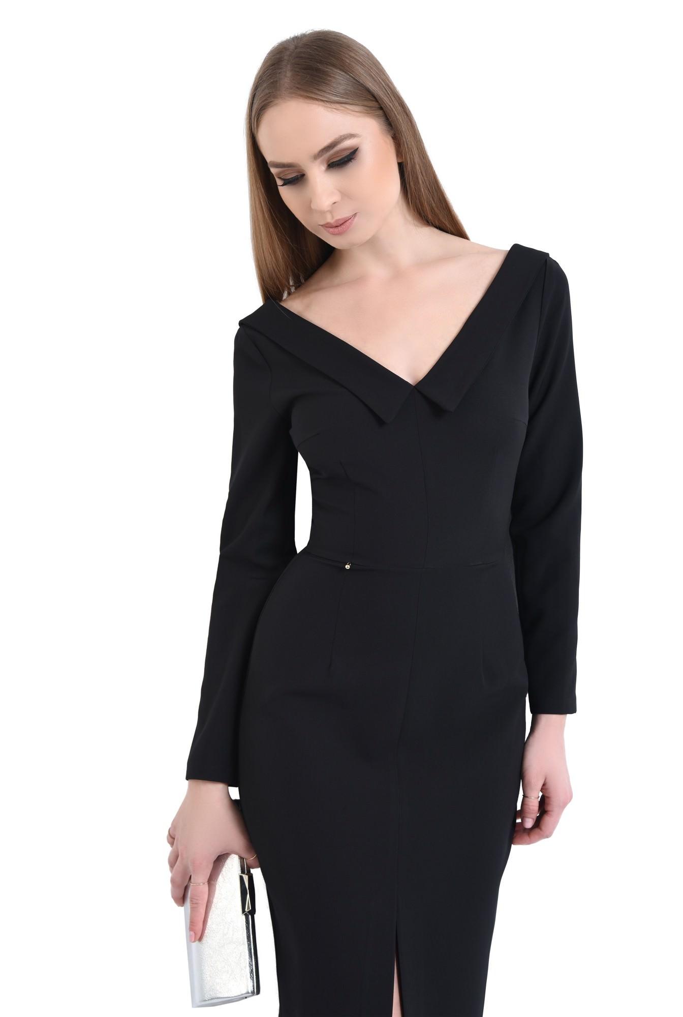 Rochie eleganta neagra, midi
