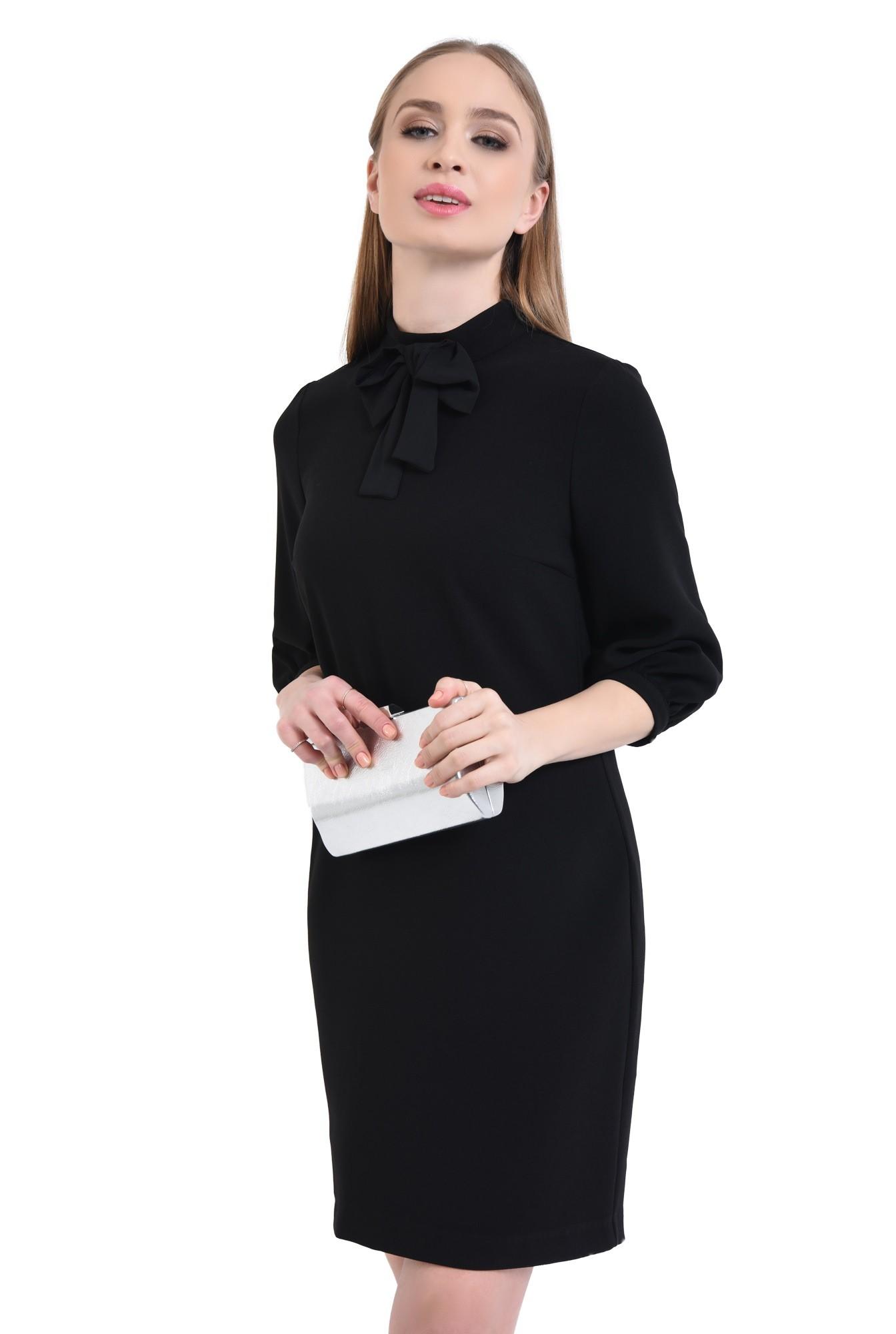 Rochie casual, neagra, mini, croi drept
