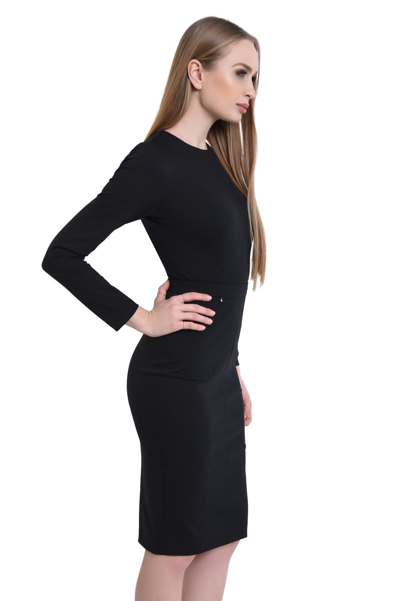 rochie casual, negru, conica, maneci lungi