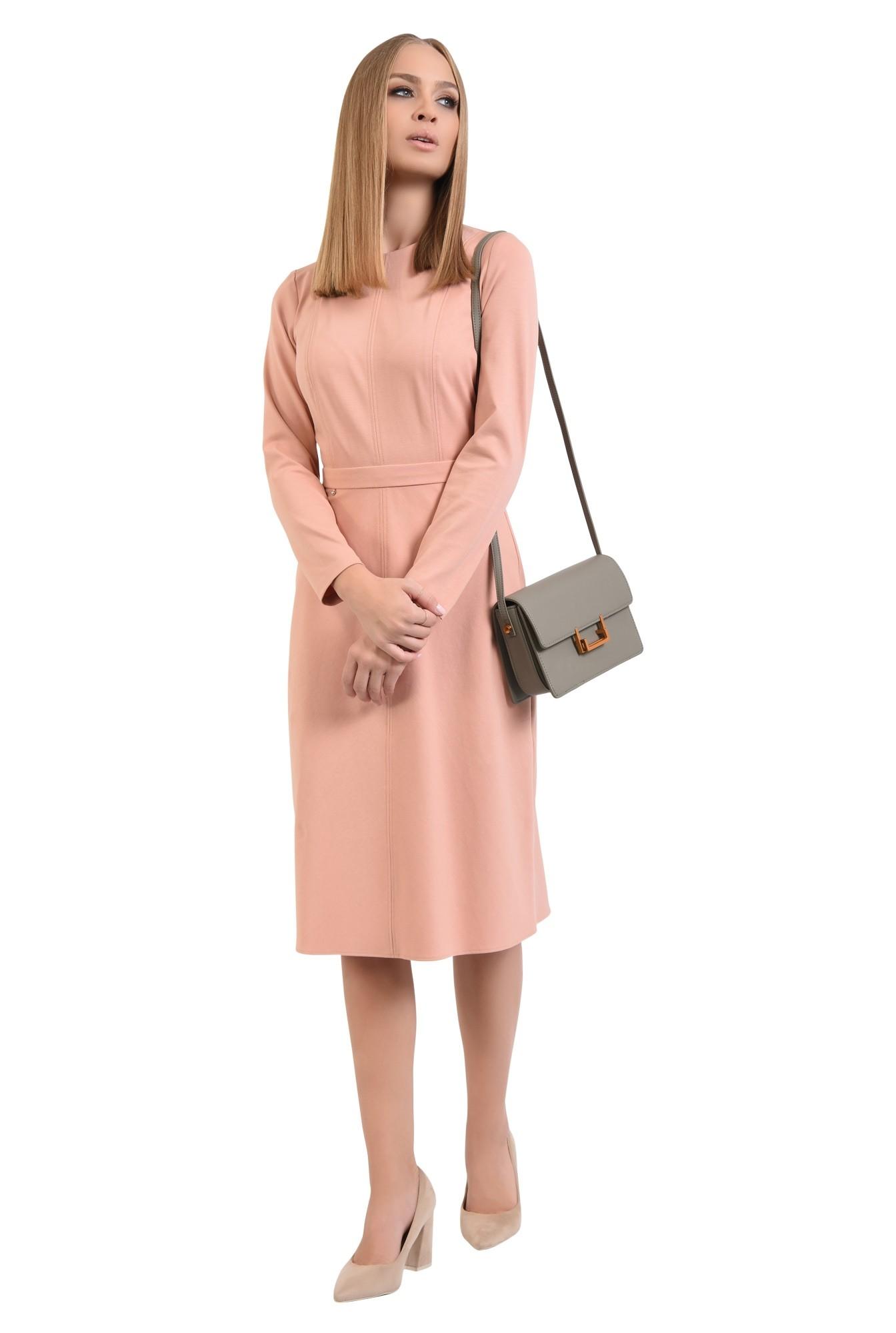 rochie casual, roz piersica, evazata, maneci lungi