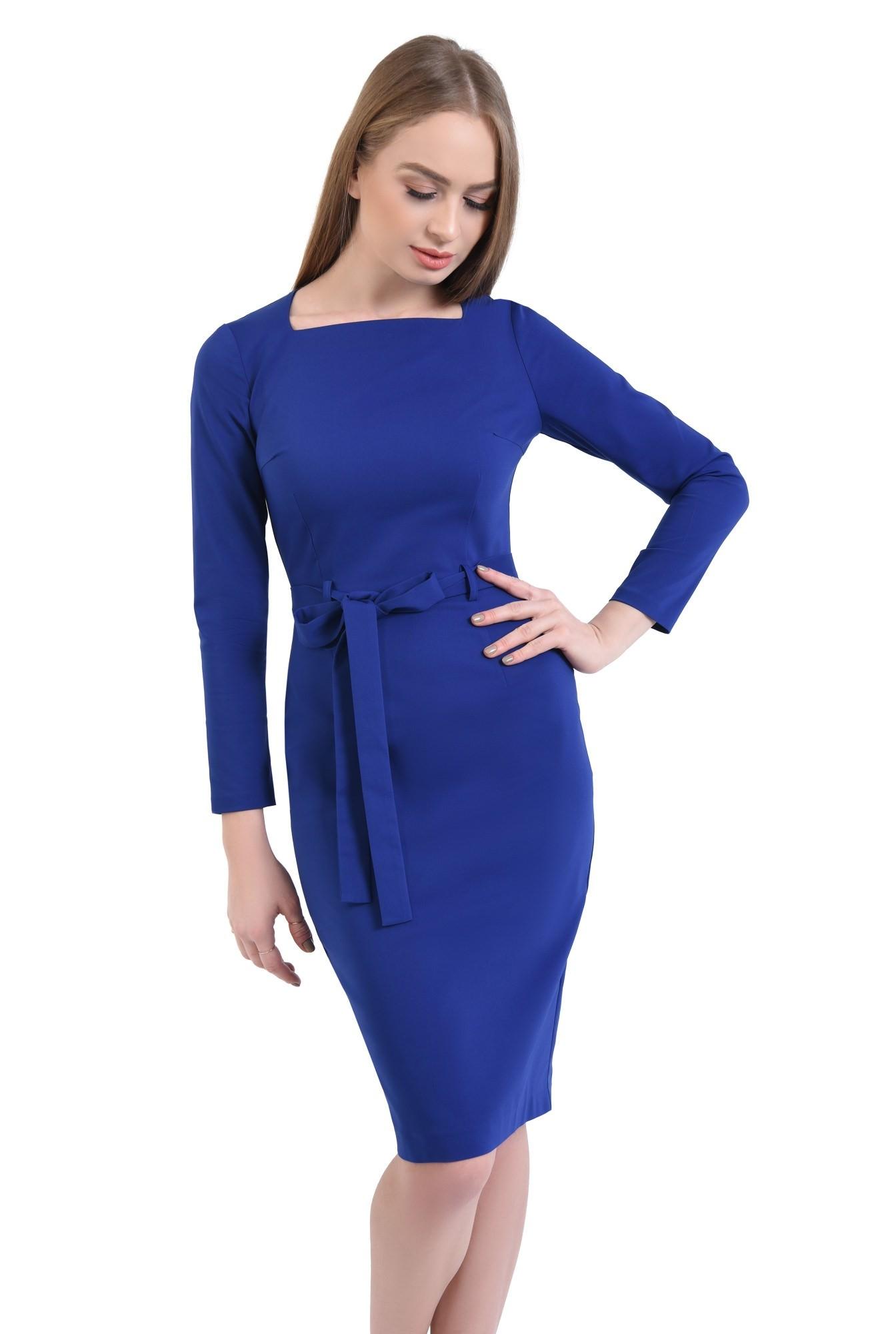 rochie de zi, conica, albastru, cordon