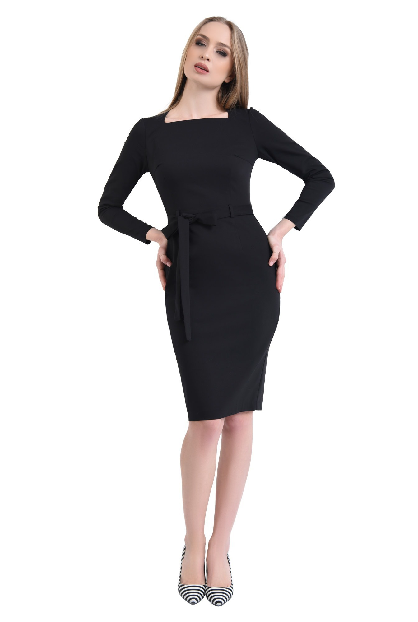 360 - rochie neagra, casual, rochii online, croi conic, cordon, funda