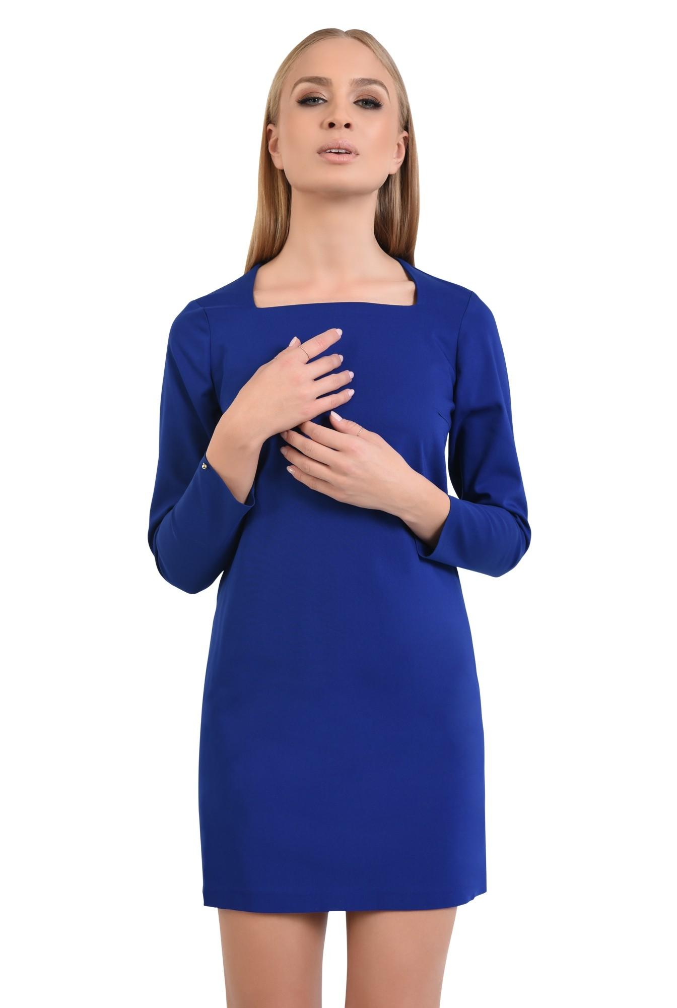 rochie mini, albastru, maneci lungi, decolteu asimetric