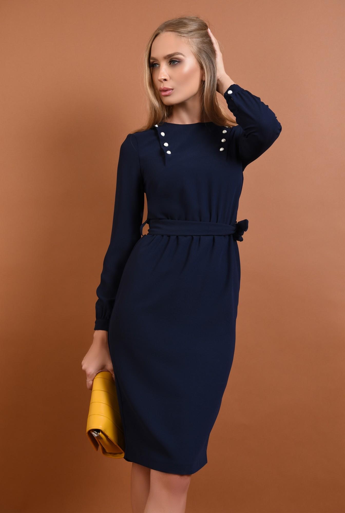 rochie de zi, midi, albastru, bleumarin, maneci lungi, mansete