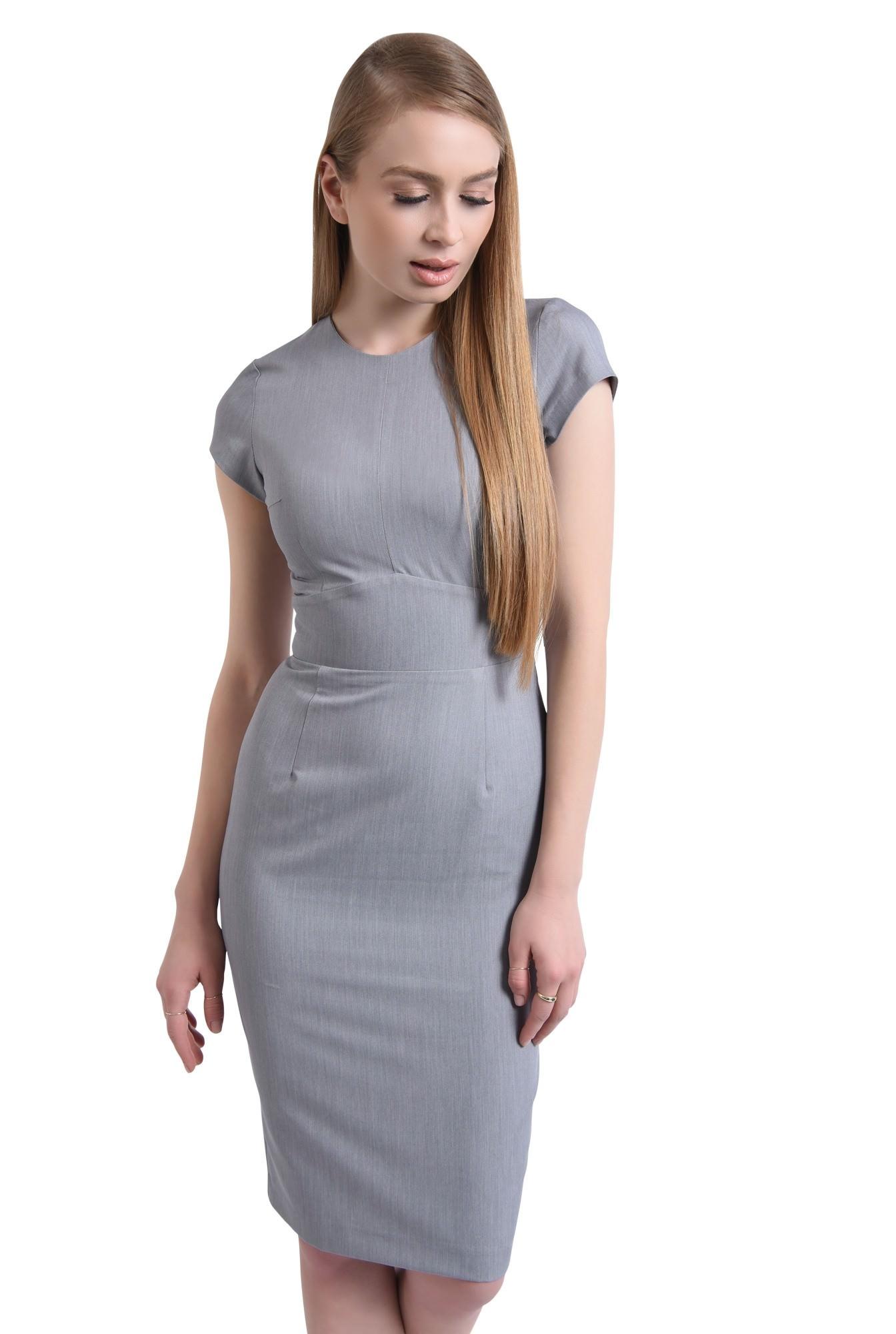 Rochie de zi, tesatura gri