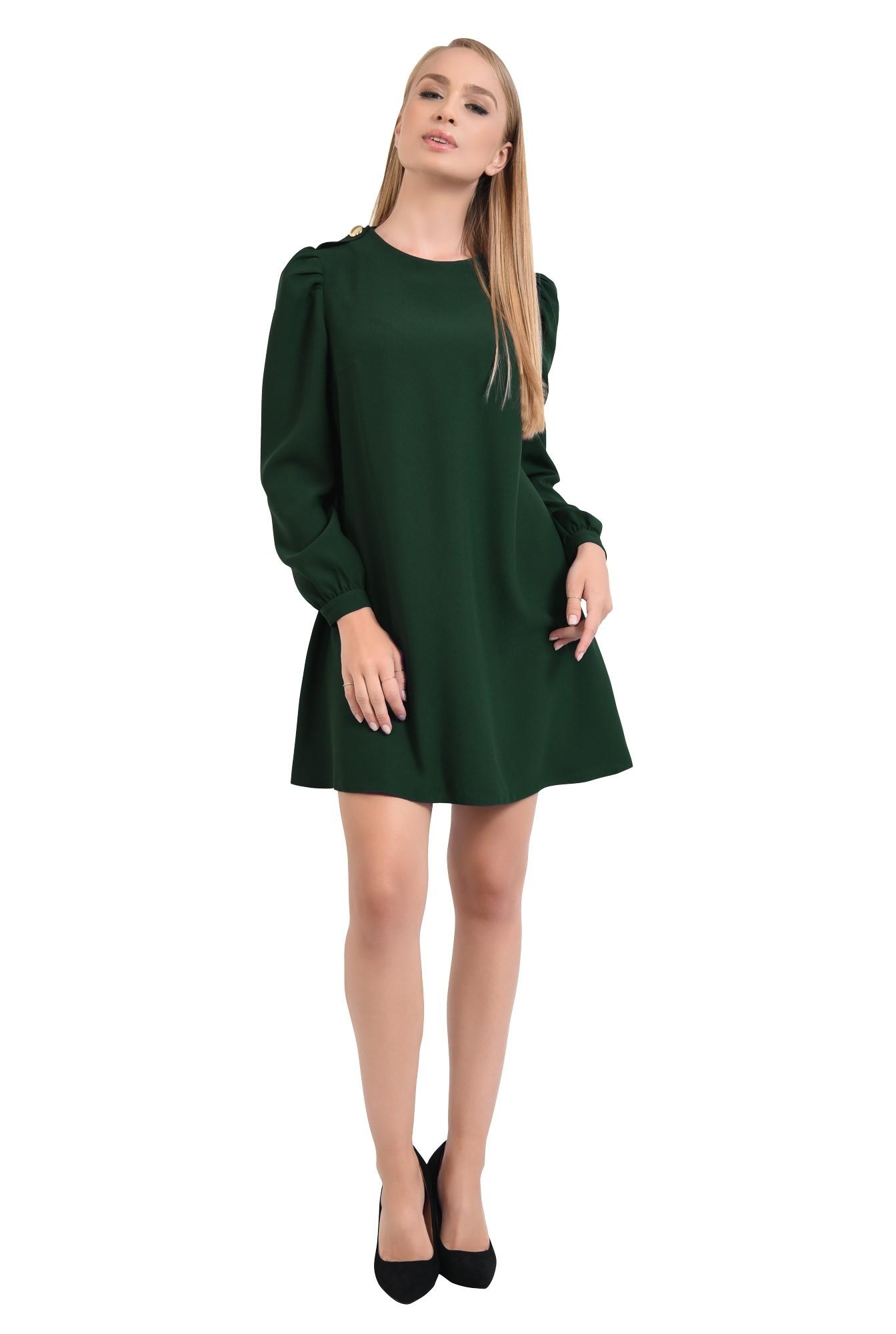 360 - rochie de zi, croi evazat, verde inchis, epoleti, cu nasture fantezie