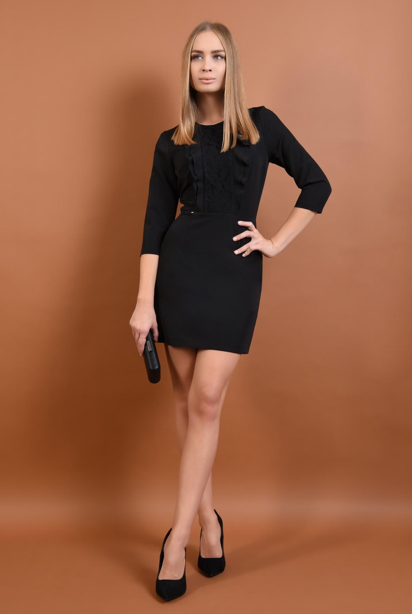360 - rochie eleganta, cu volane, dantela aplicata, mini, croi cambrat, rochii online