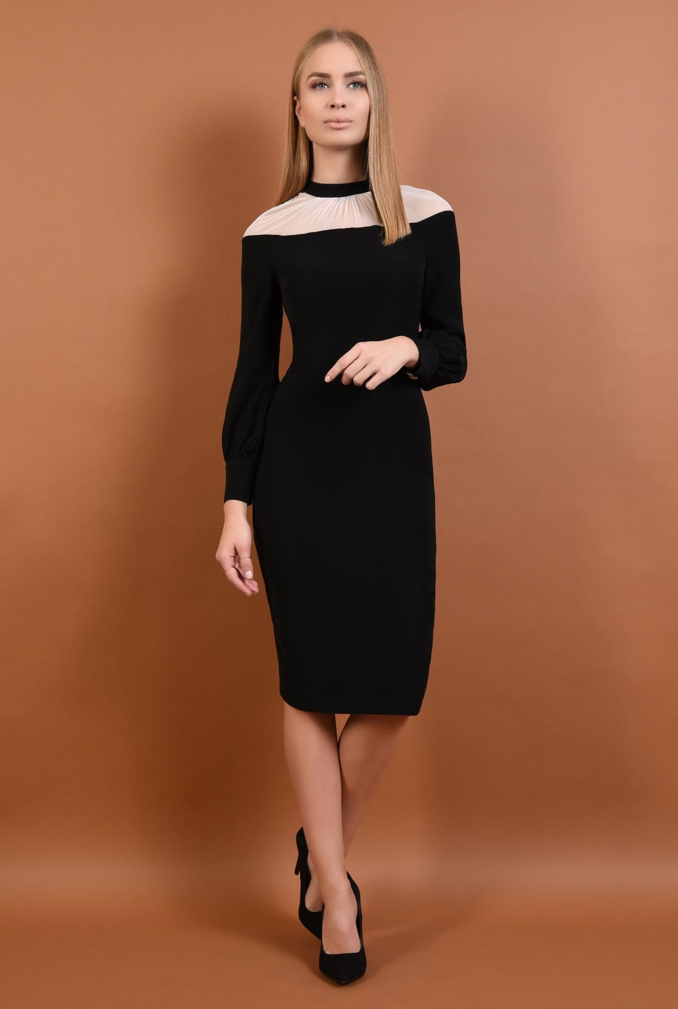 360 - rochie eleganta, midi, conica, neagra, insertie tul, nasturi metalici