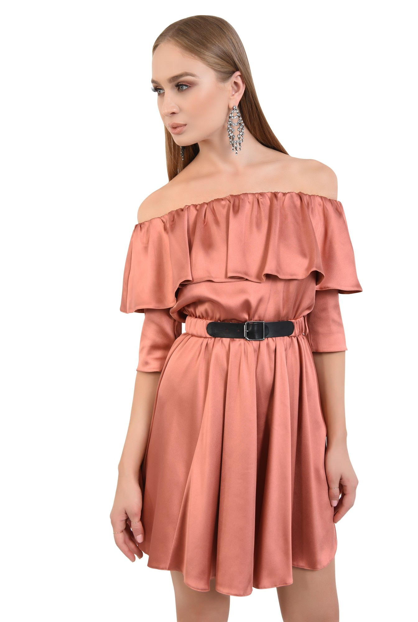 rochie eleganta, scurta, clos, satin, curea