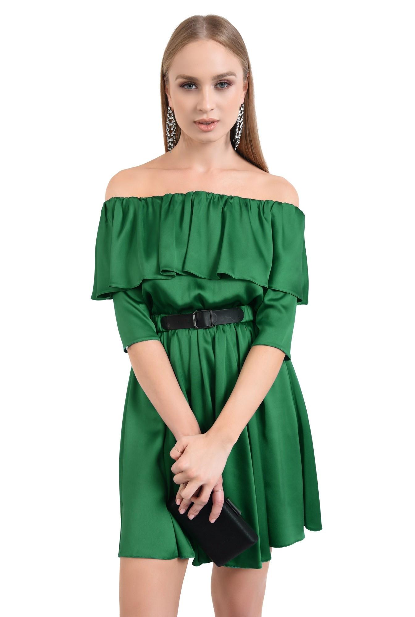 rochie de seara, cloche, curea, satin, verde