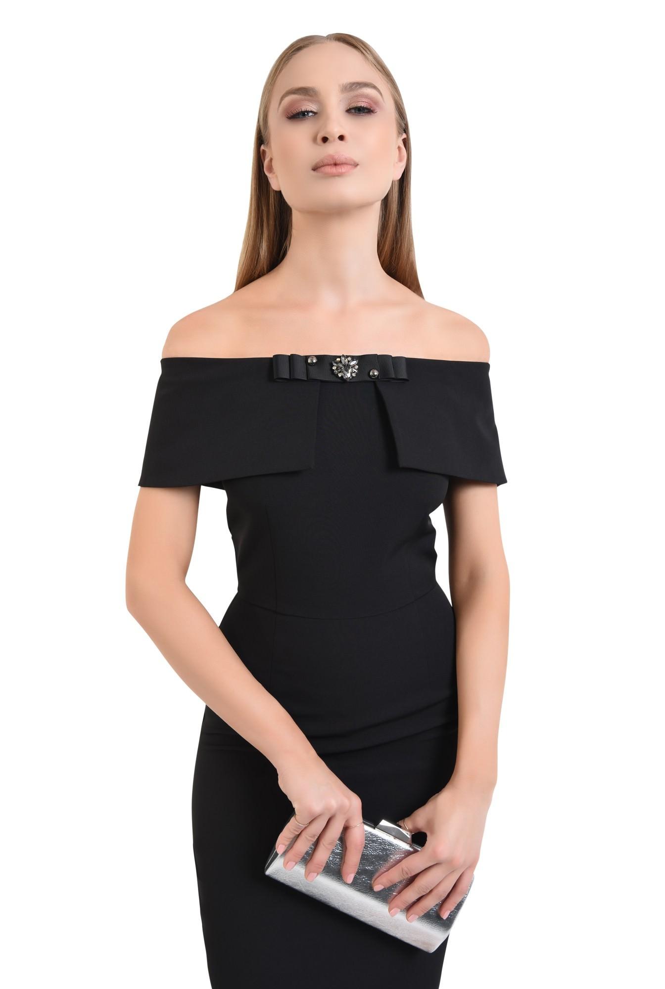 rochie de seara, neagra, conica, cu funda