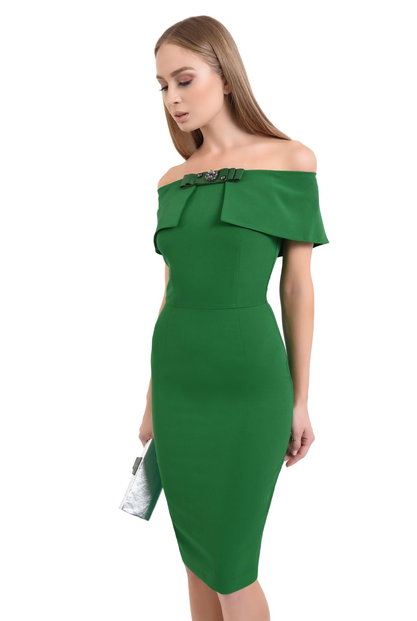 rochie eleganta, conica, funda, brosa