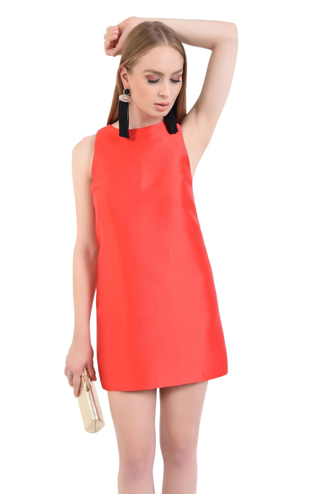 rochie eleganta, scurta, tafta, rosie