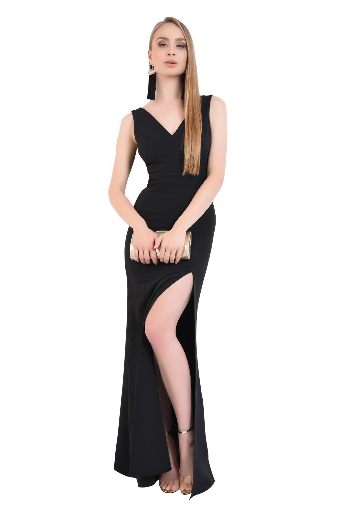 rochie de seara, decolteu, anchior, negru, slit