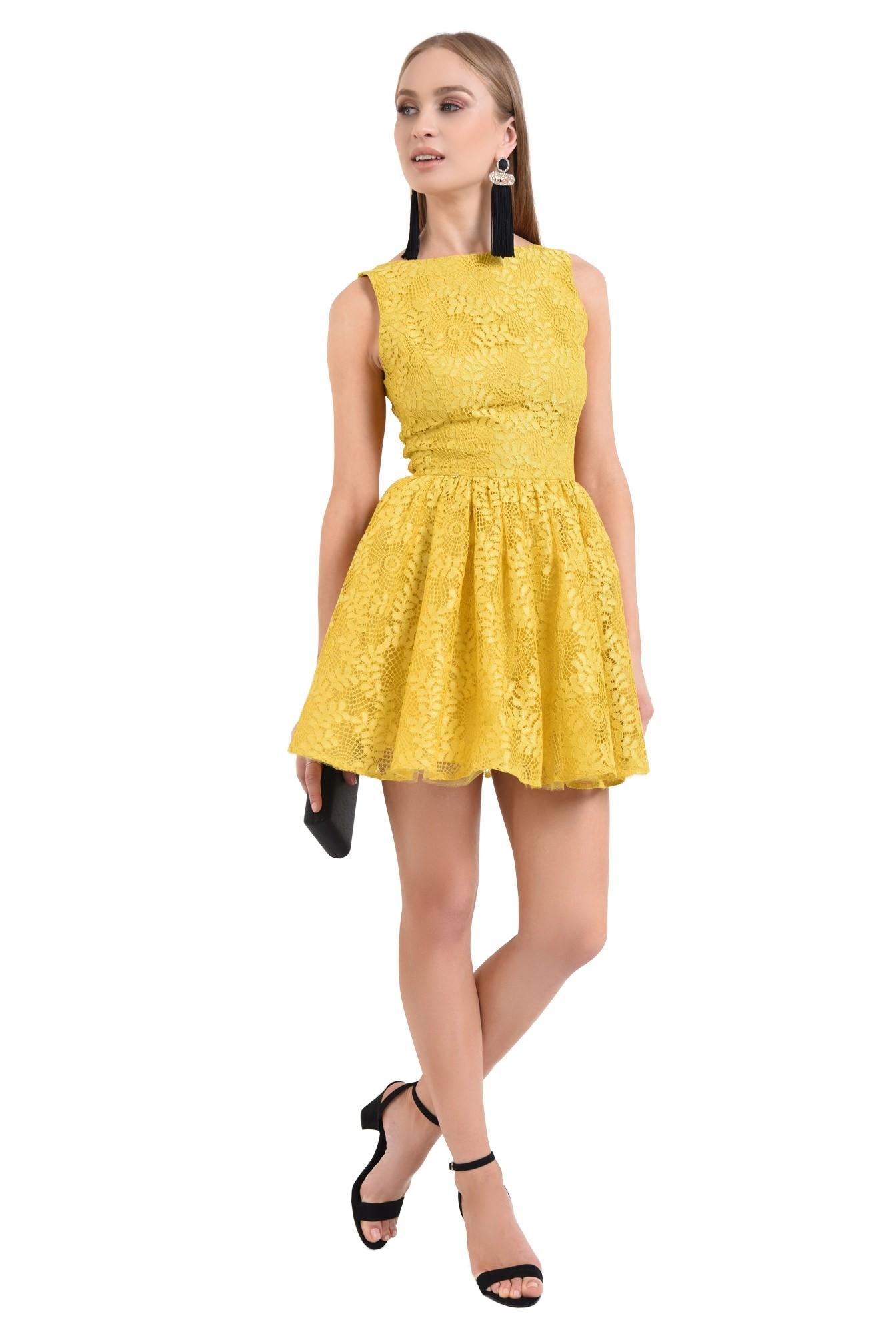 360 - rochie de seara, dantela galbena, cloche, rochii online