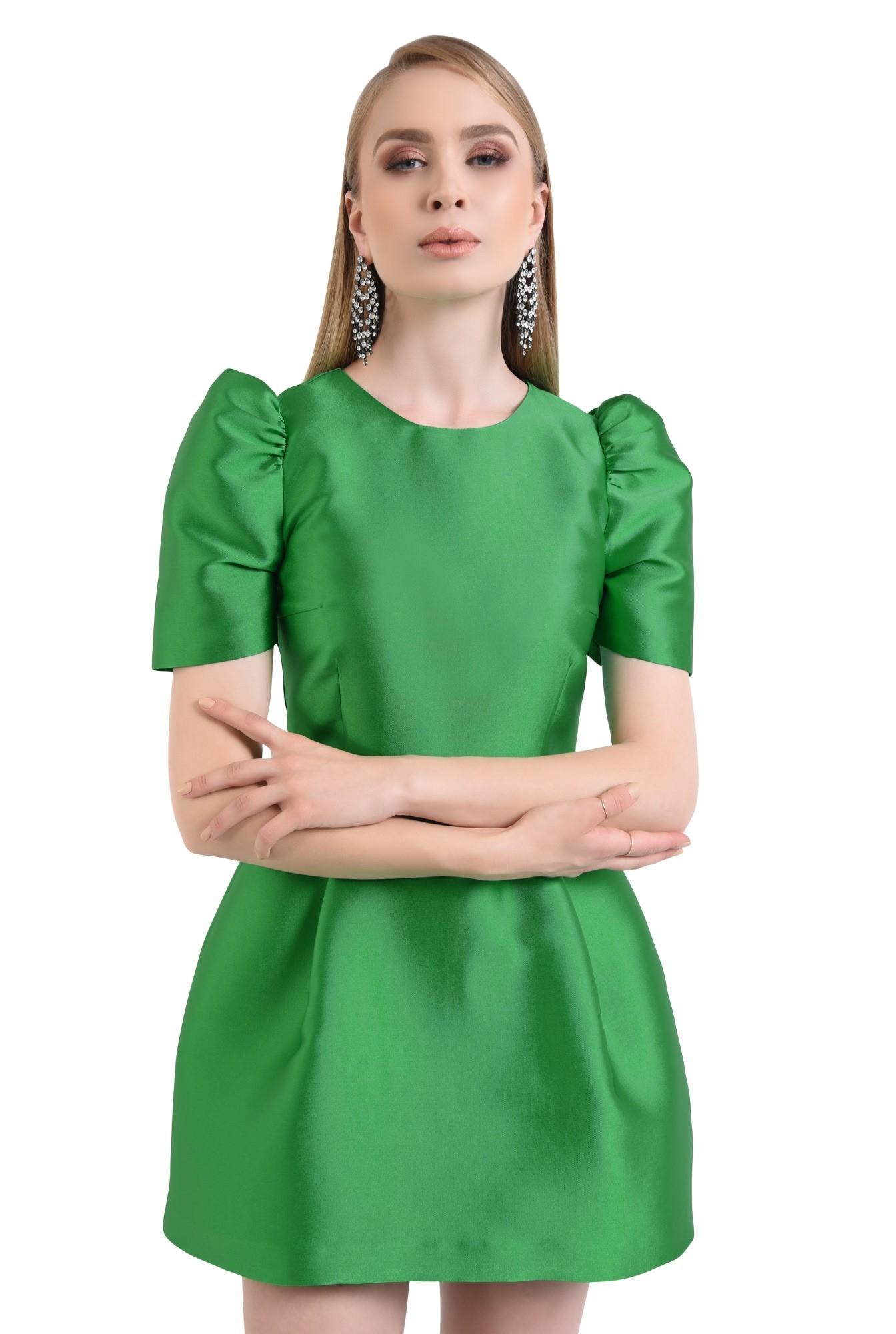 rochie eleganta, scurta, croiala cloche, verde