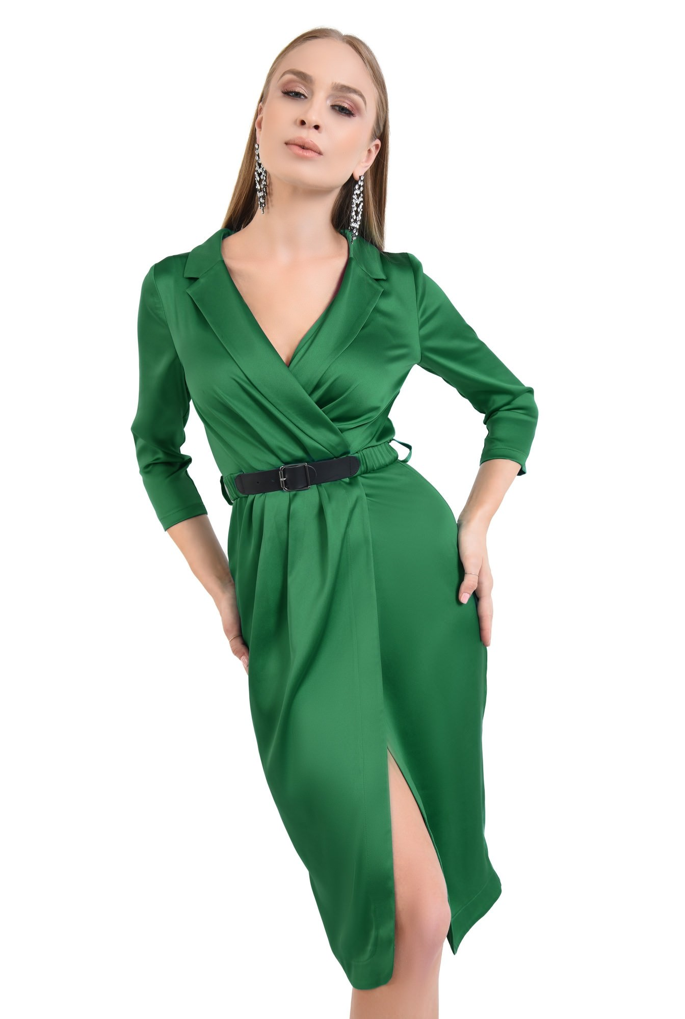 rochie de seara, satin, verde, revere