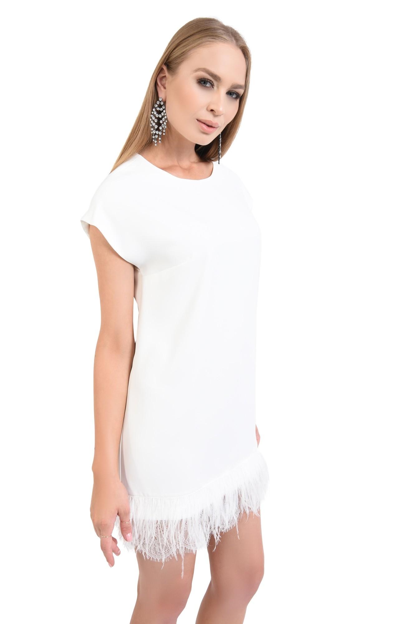 rochie eleganta, scurta, alba, pene de strut