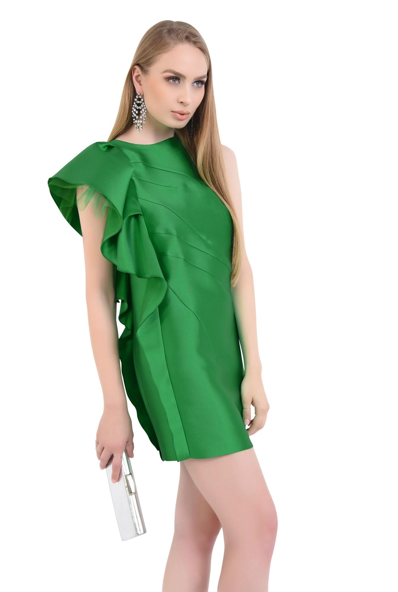 rochie de ocazie, tafta, verde, volan