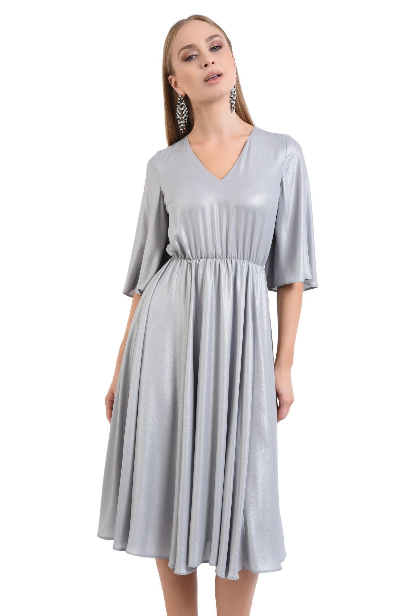 rochie eleganta, clos, lurex, argintiu