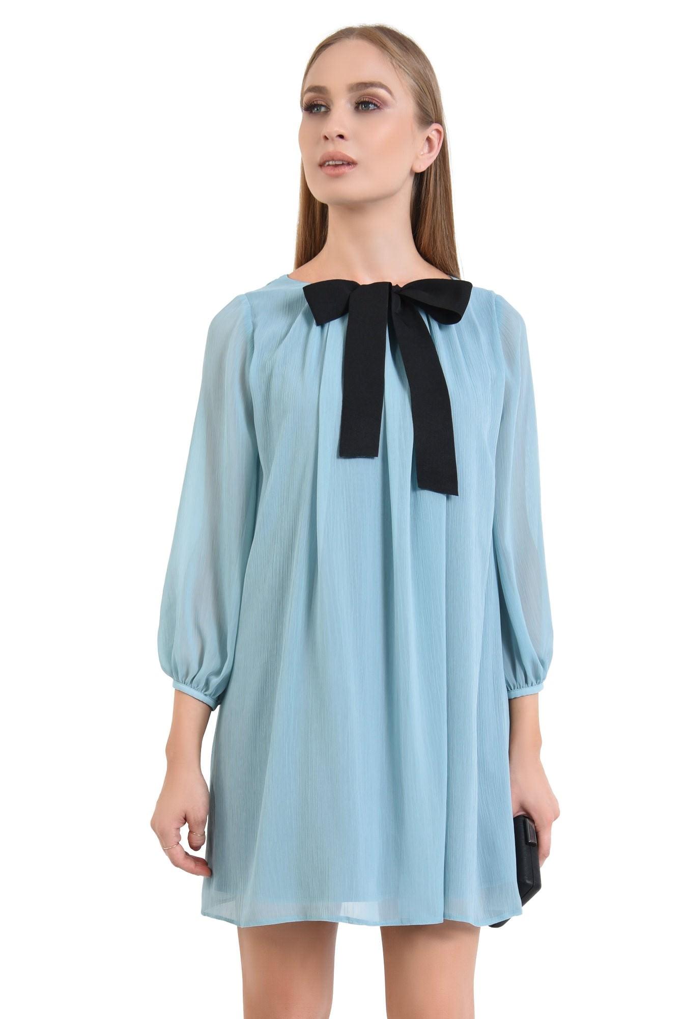 rochie eleganta, bleu, rips, negru, contrast