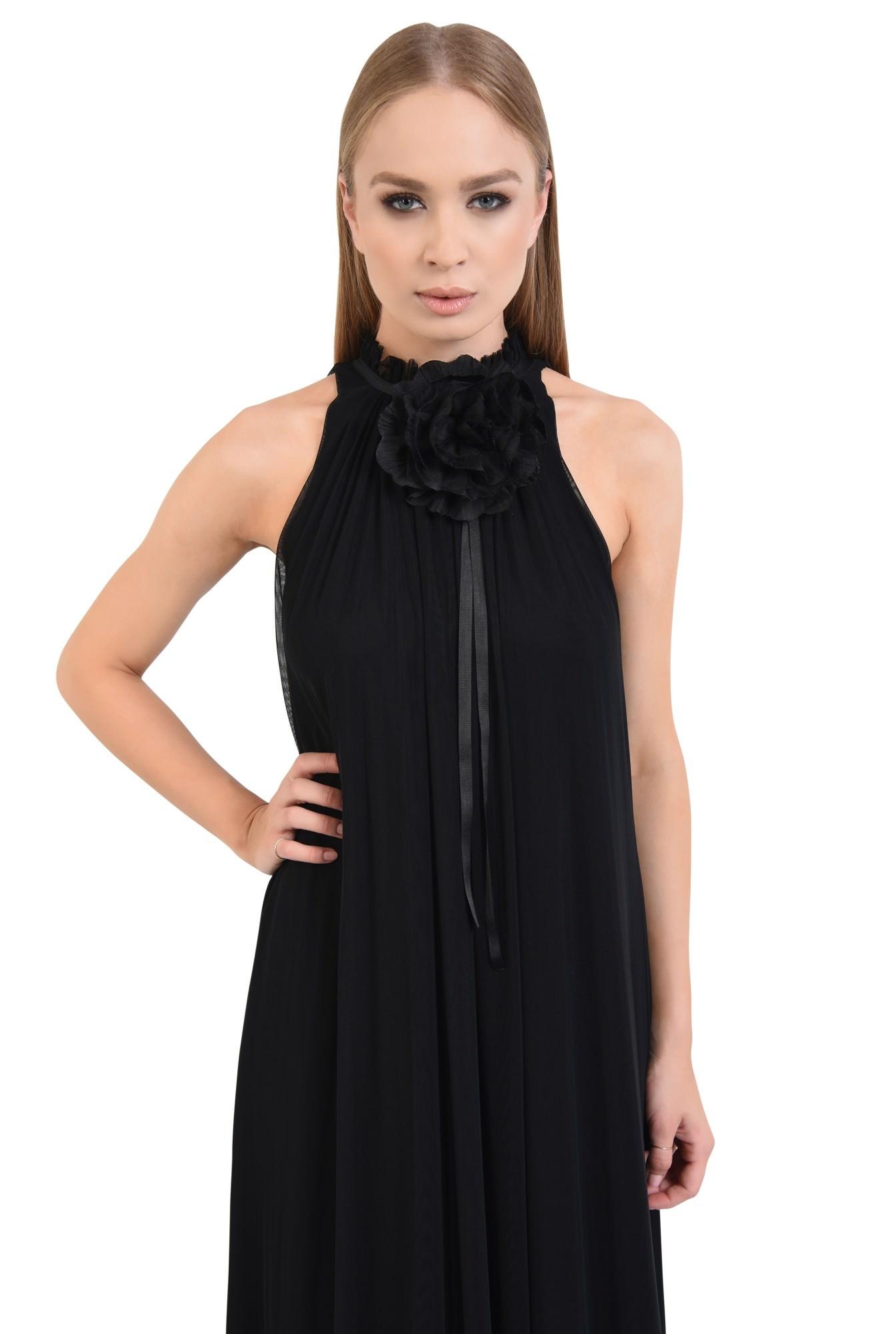 rochie de ocazie, maxi, crapeu, accesoriu floral, tul, negru