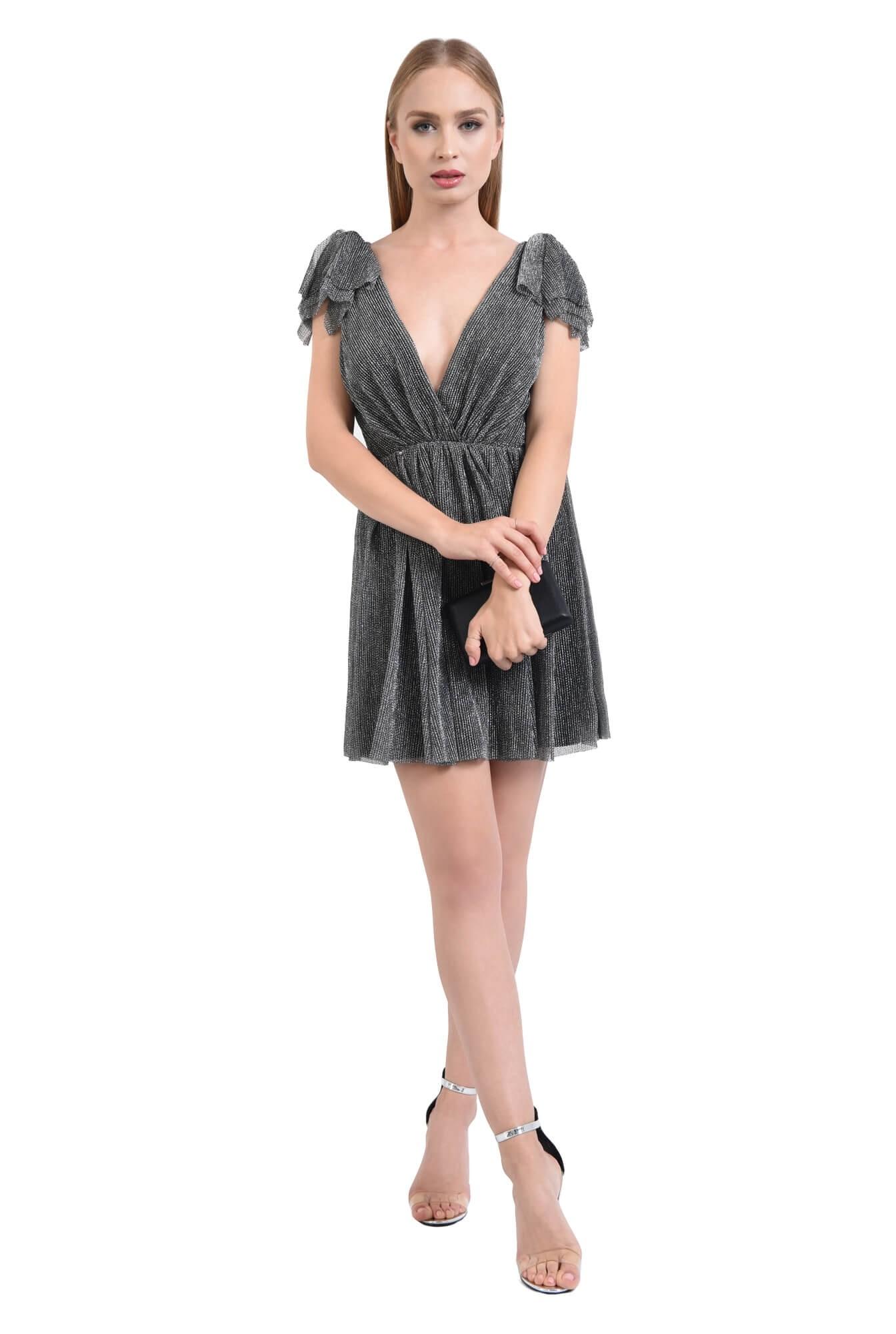 rochie de ocazie, argintiu, negru, lurex, funde