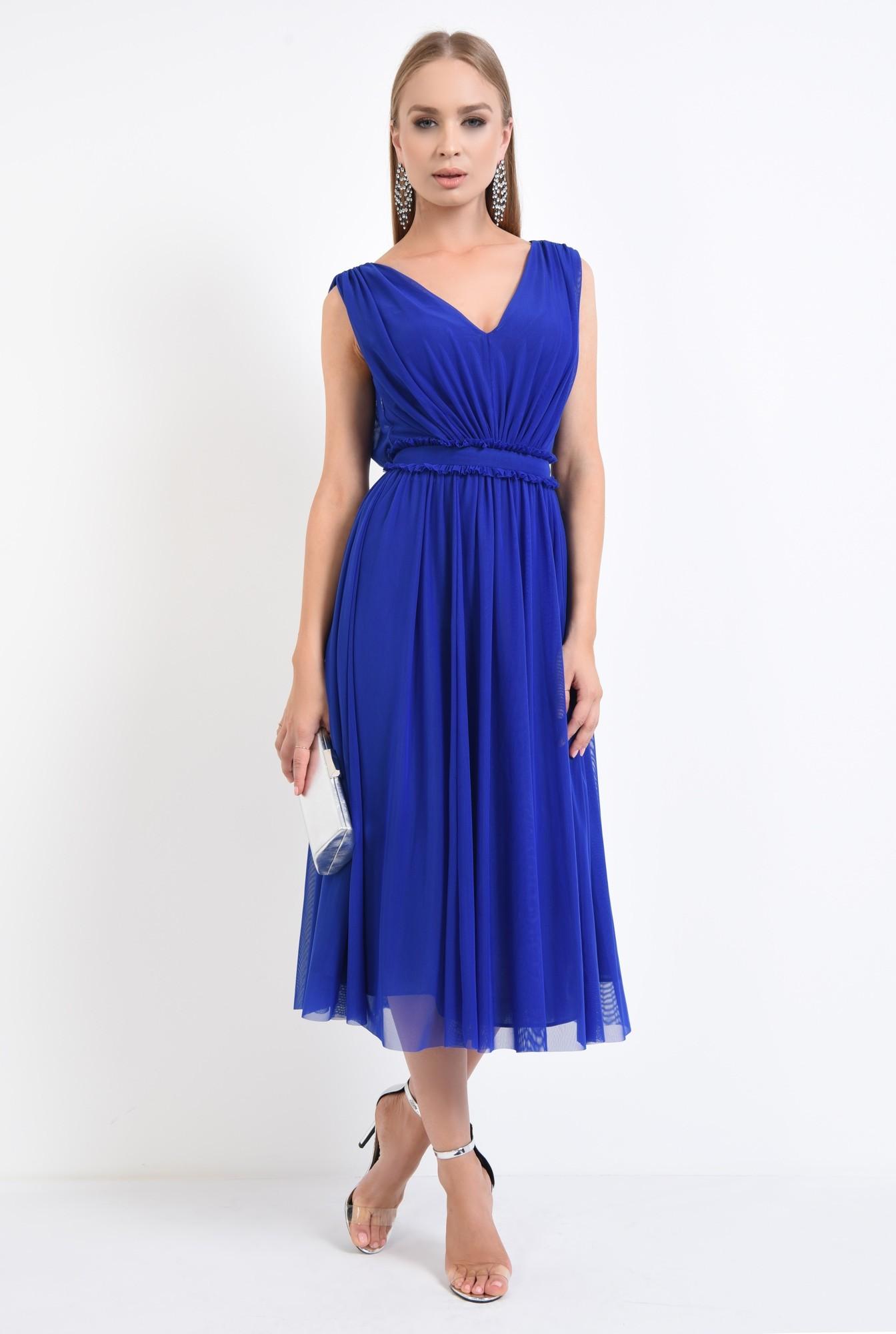 360 - rochie de seara, tul, albastru, clos, midi, rochii online