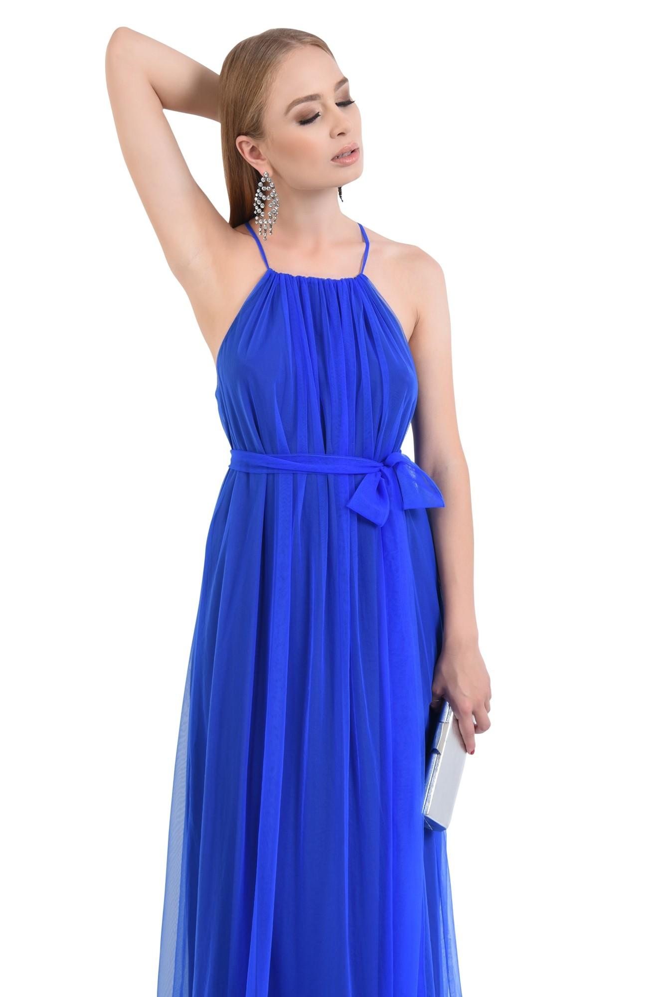 rochie de ocazie, tul, lunga, albastru