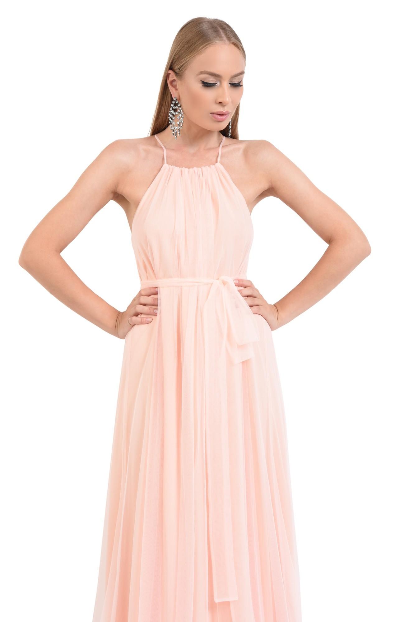 rochie de ocazie, lunga, din tul, roz piersica, croi larg