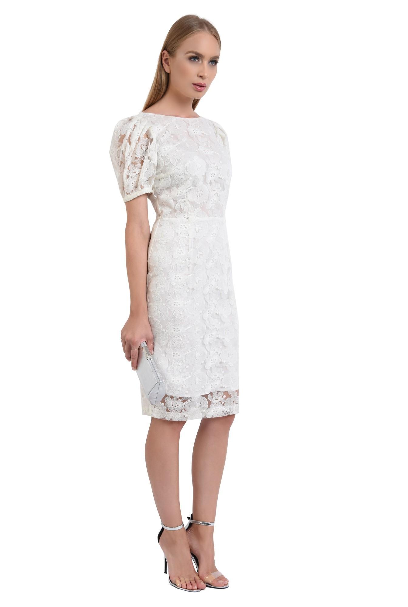 rochie de seara, dantela, alb, conica