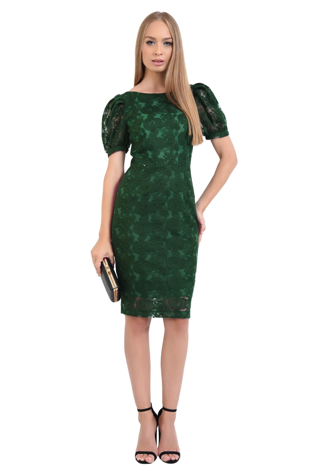 rochie de seara, dantela, verde smarald, midi