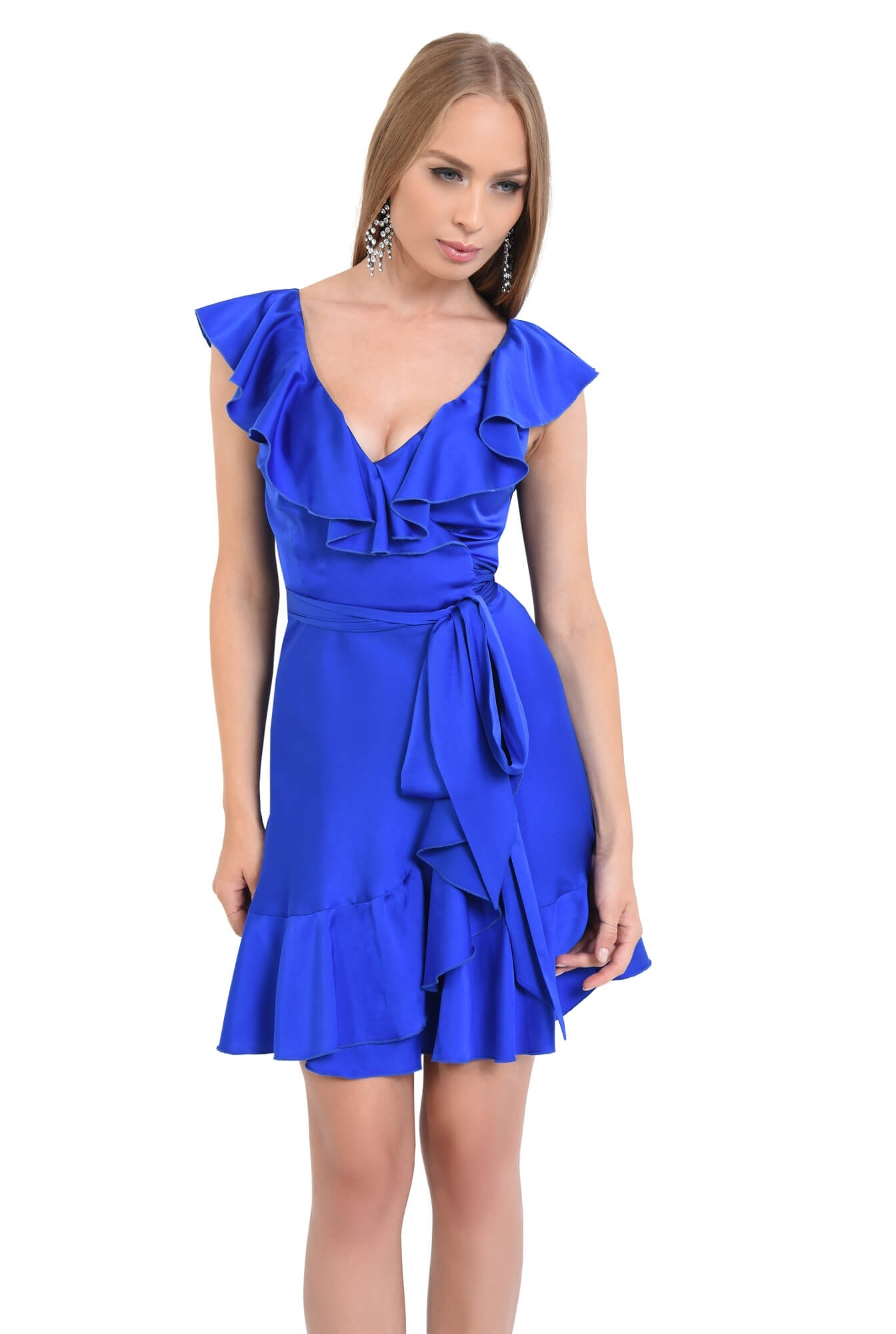 rochie de seara, scurta, albastru, electric, volane, cordon