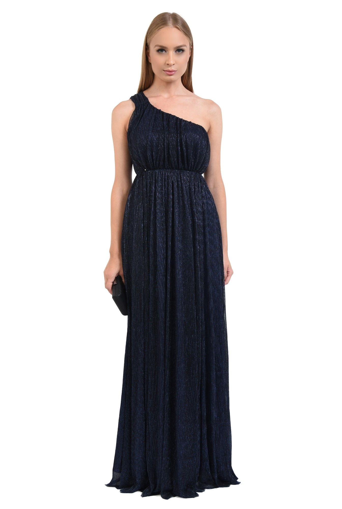 rochie de seara, lunga, lurex, bleumarin, umar gol