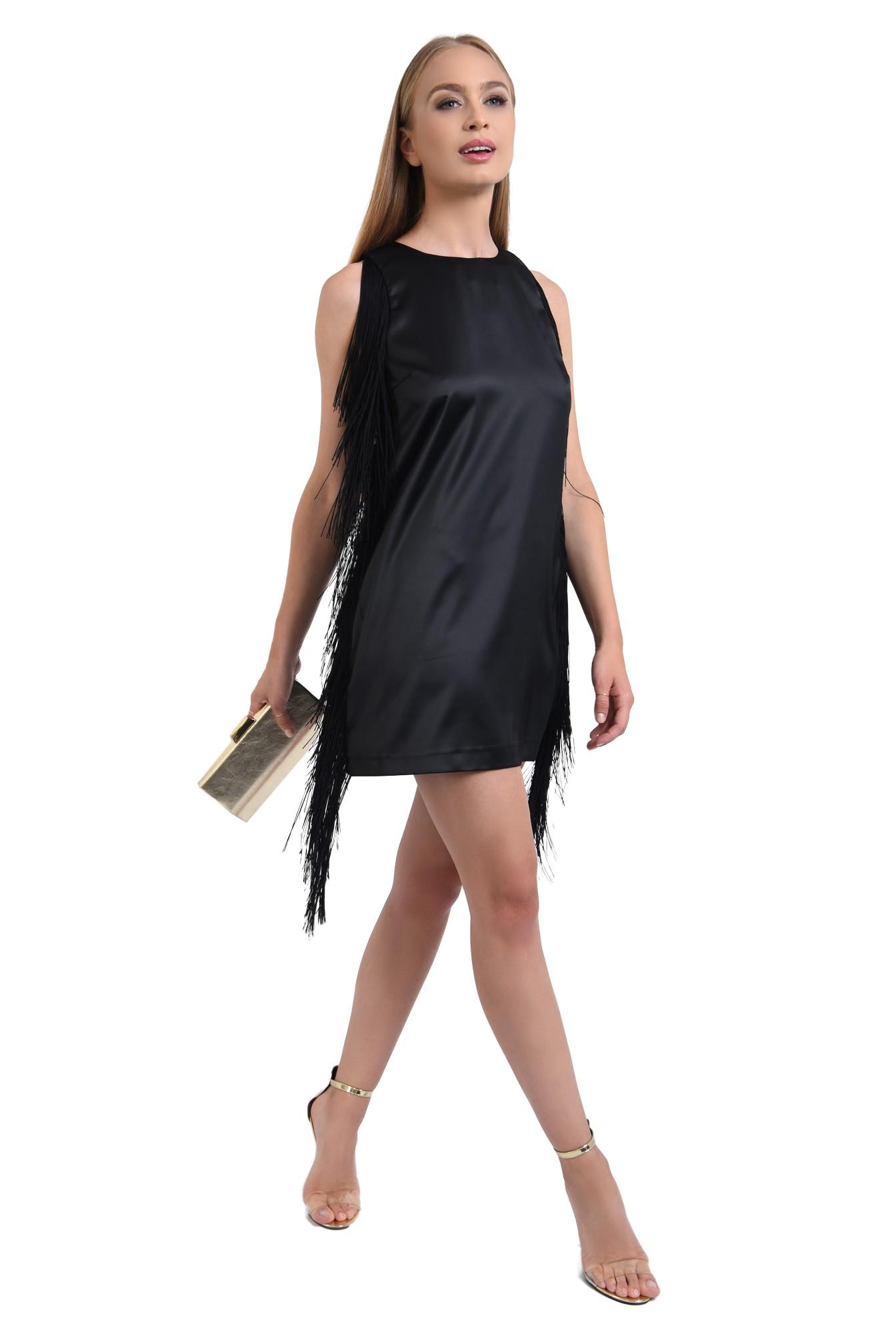 rochie de seara, scurta, satin, cu franjuri, negru