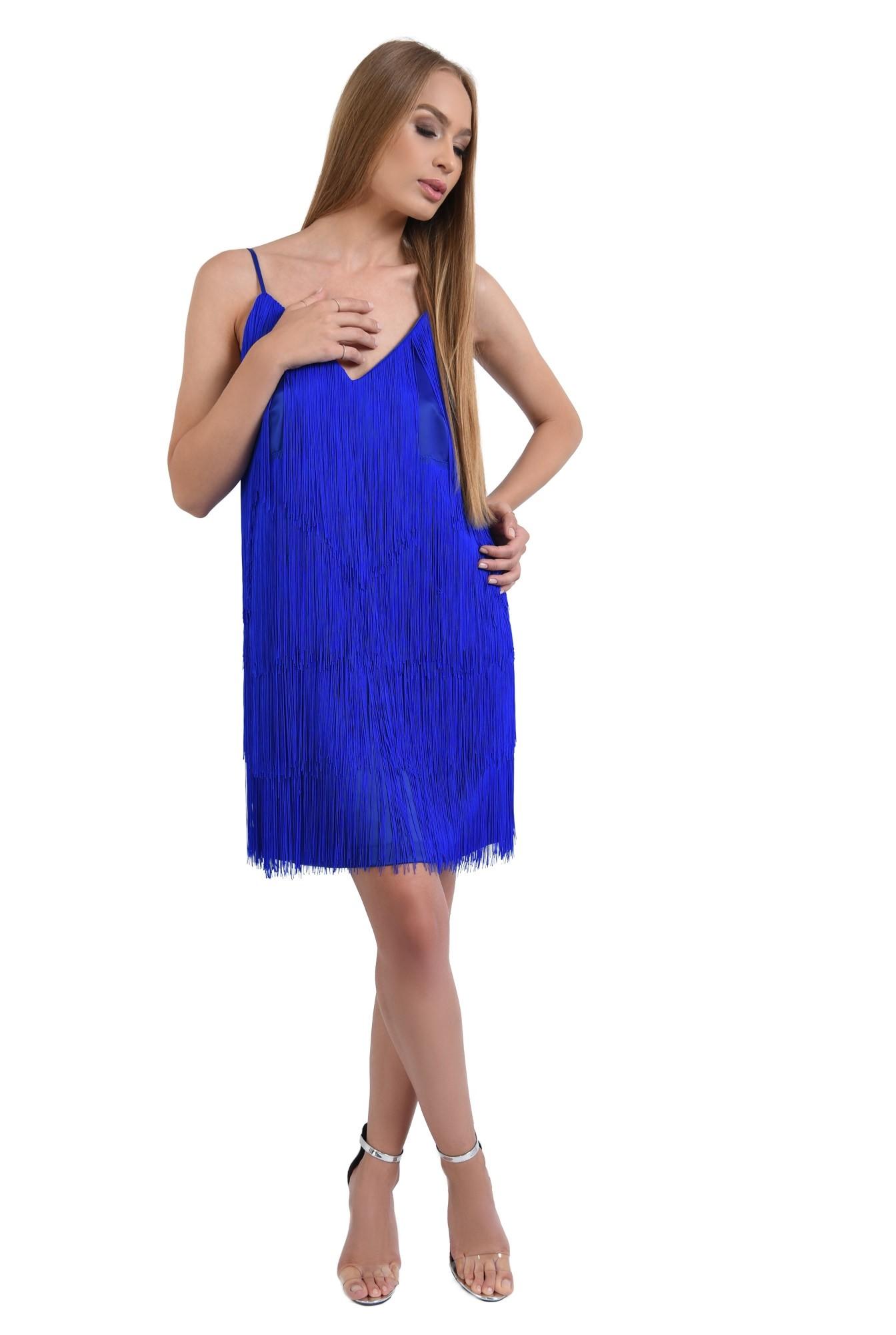 360 - rochie de seara albastra, cu frajuri, slip on, croi drept, anchior
