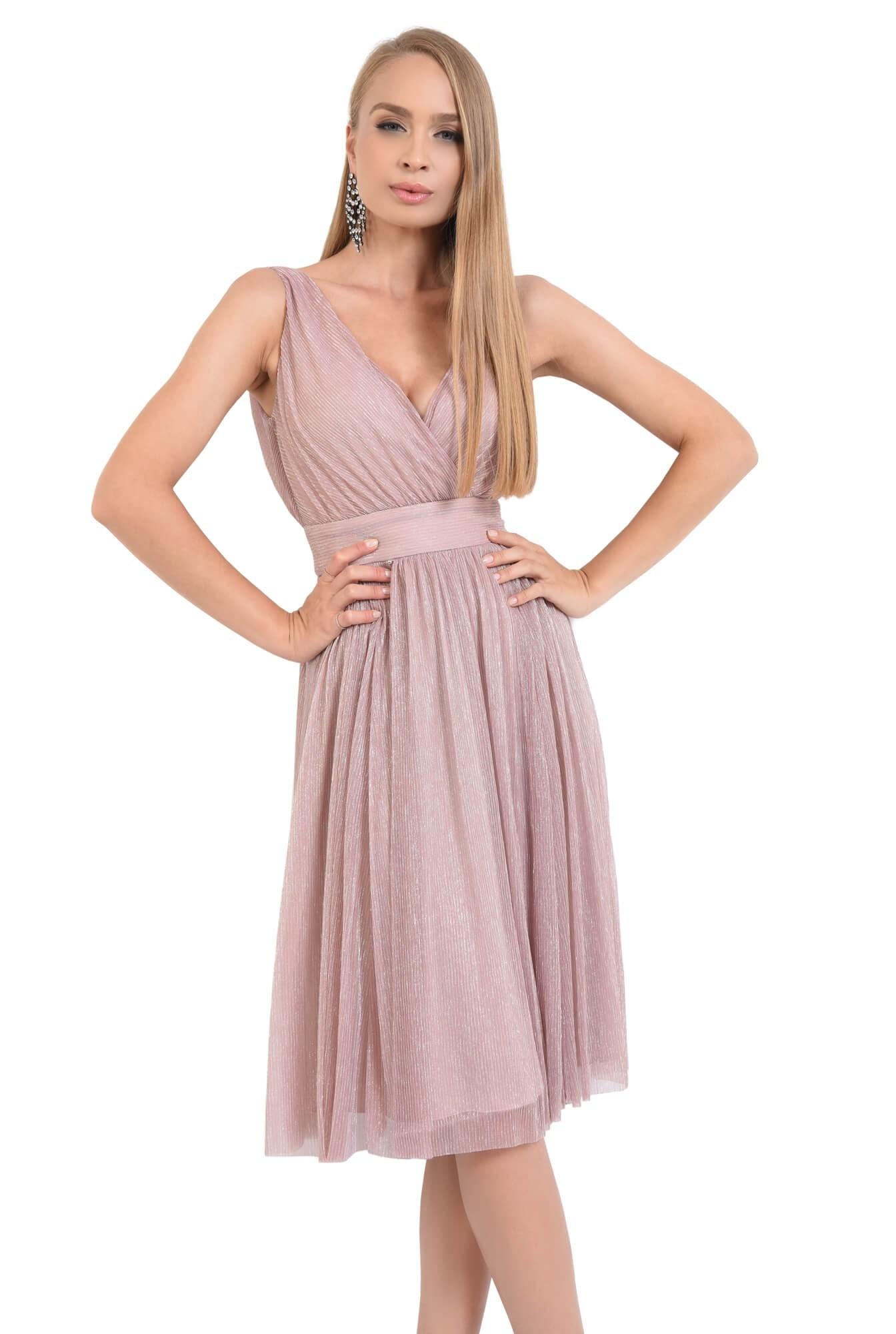 rochie de seara, midi, clos, roz, lurex