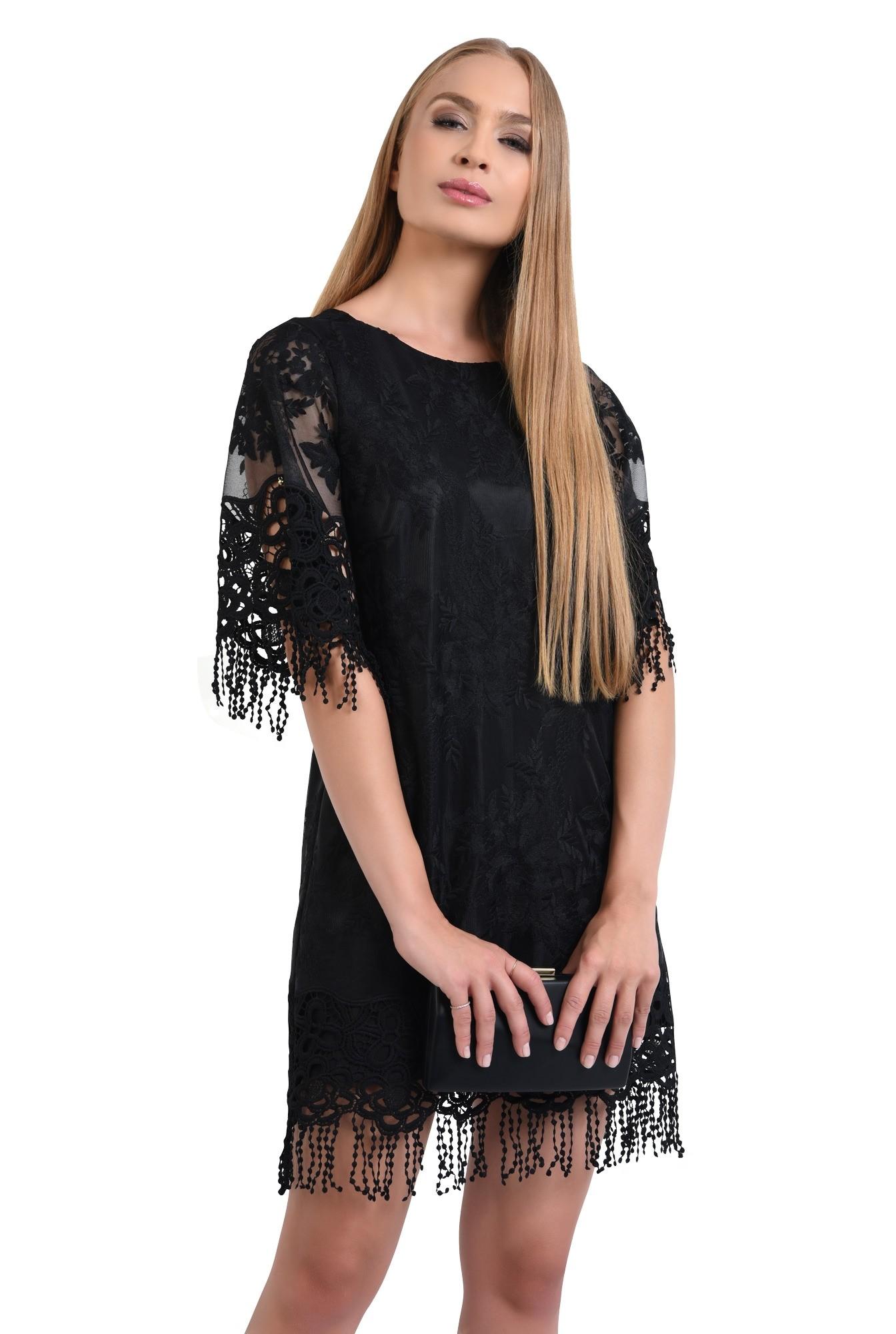 rochie eleganta, dantela brodata, franjuri, rochii online