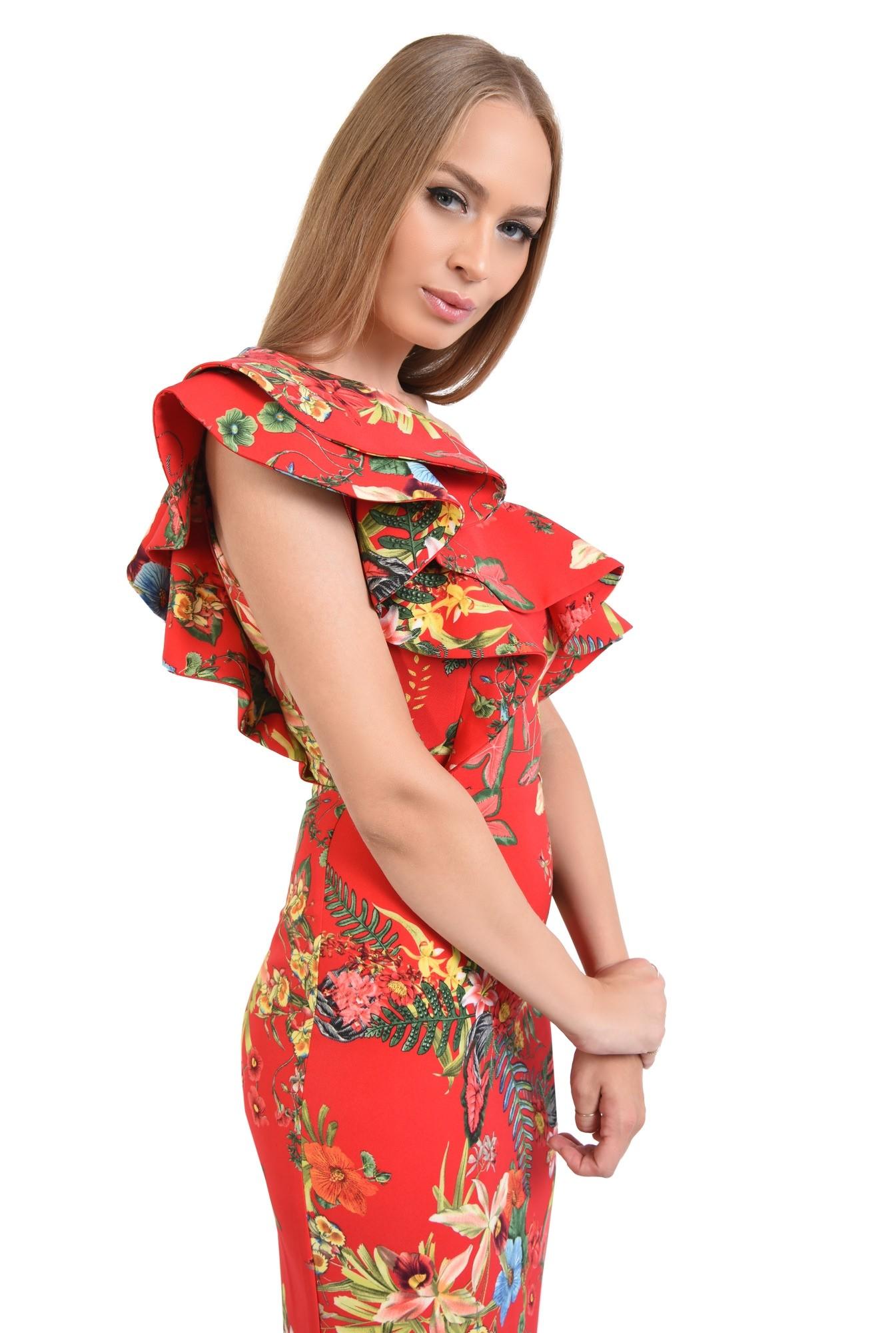 rochie eleganta, conica, midi, motive florale, rosu