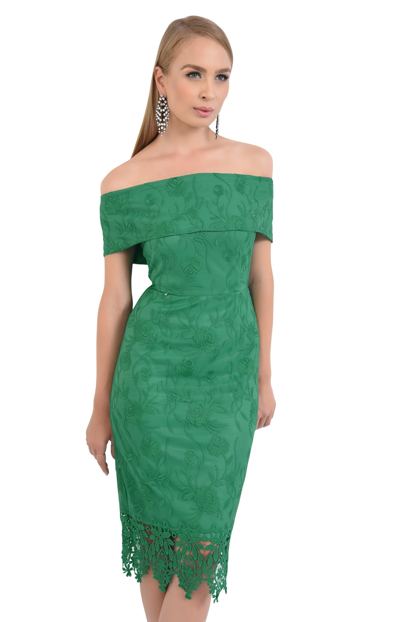 rochie eleganta, conica, dantela, verde, umeri goi, rochii online