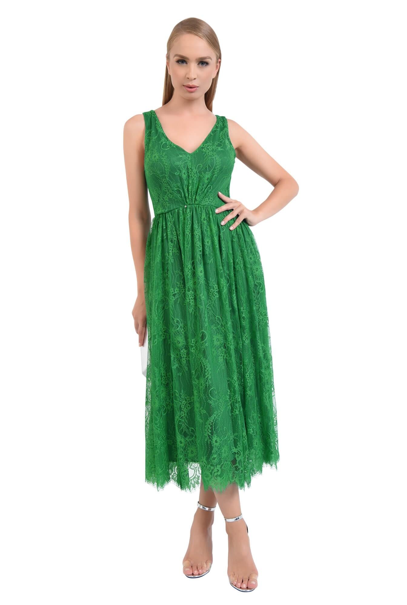 rochie de seara, dantela, verde, midi, decolteu in V