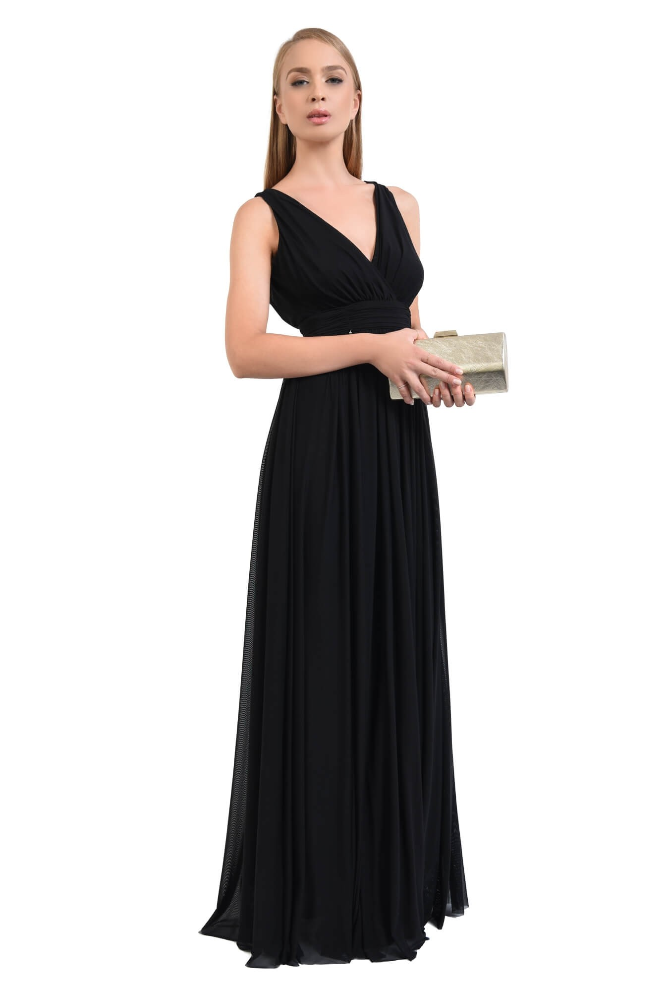 rochie eleganta, lunga, tul, negru, decolteu, anchior