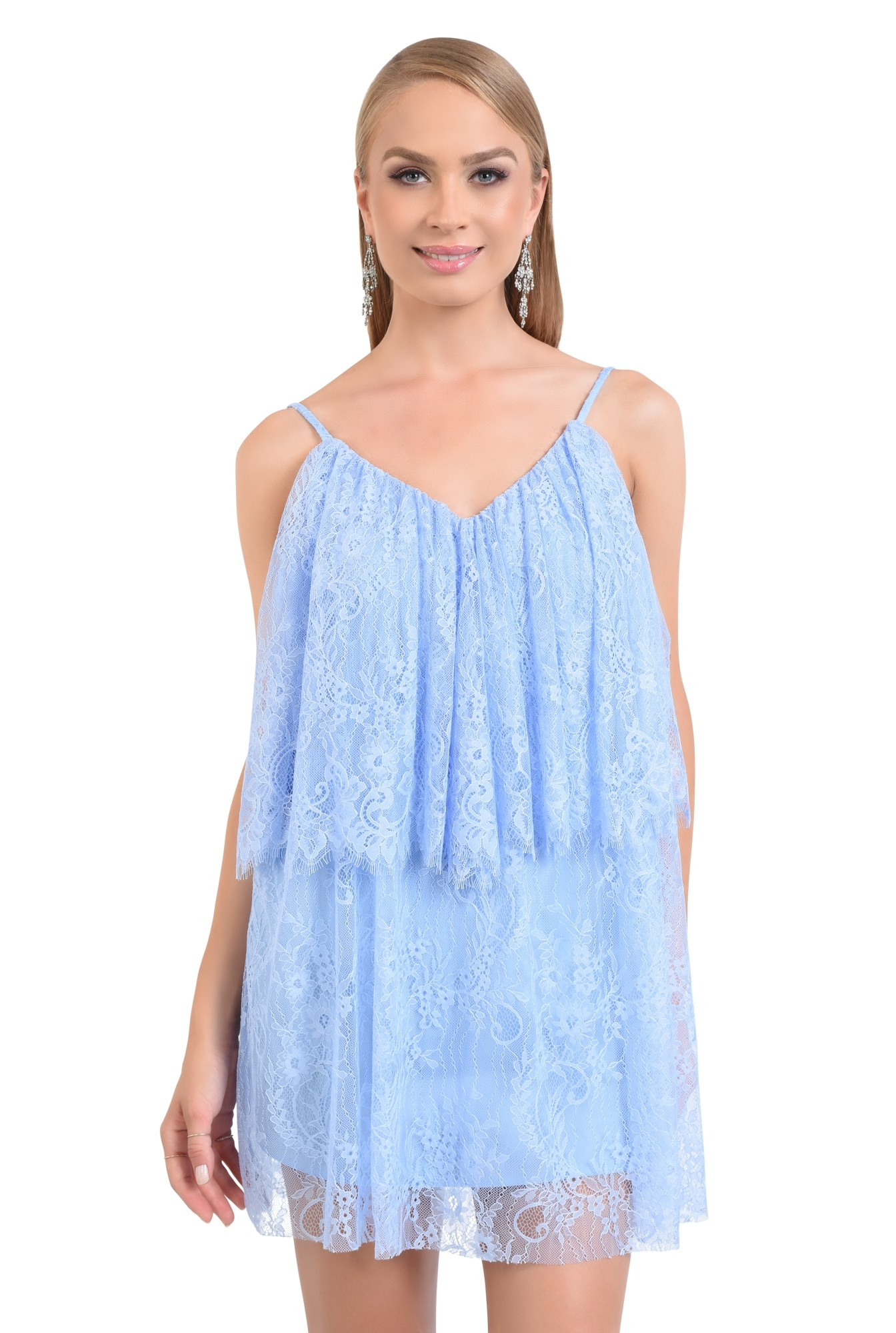 rochie de seara, scurta, din dantela, bleu, cu volan