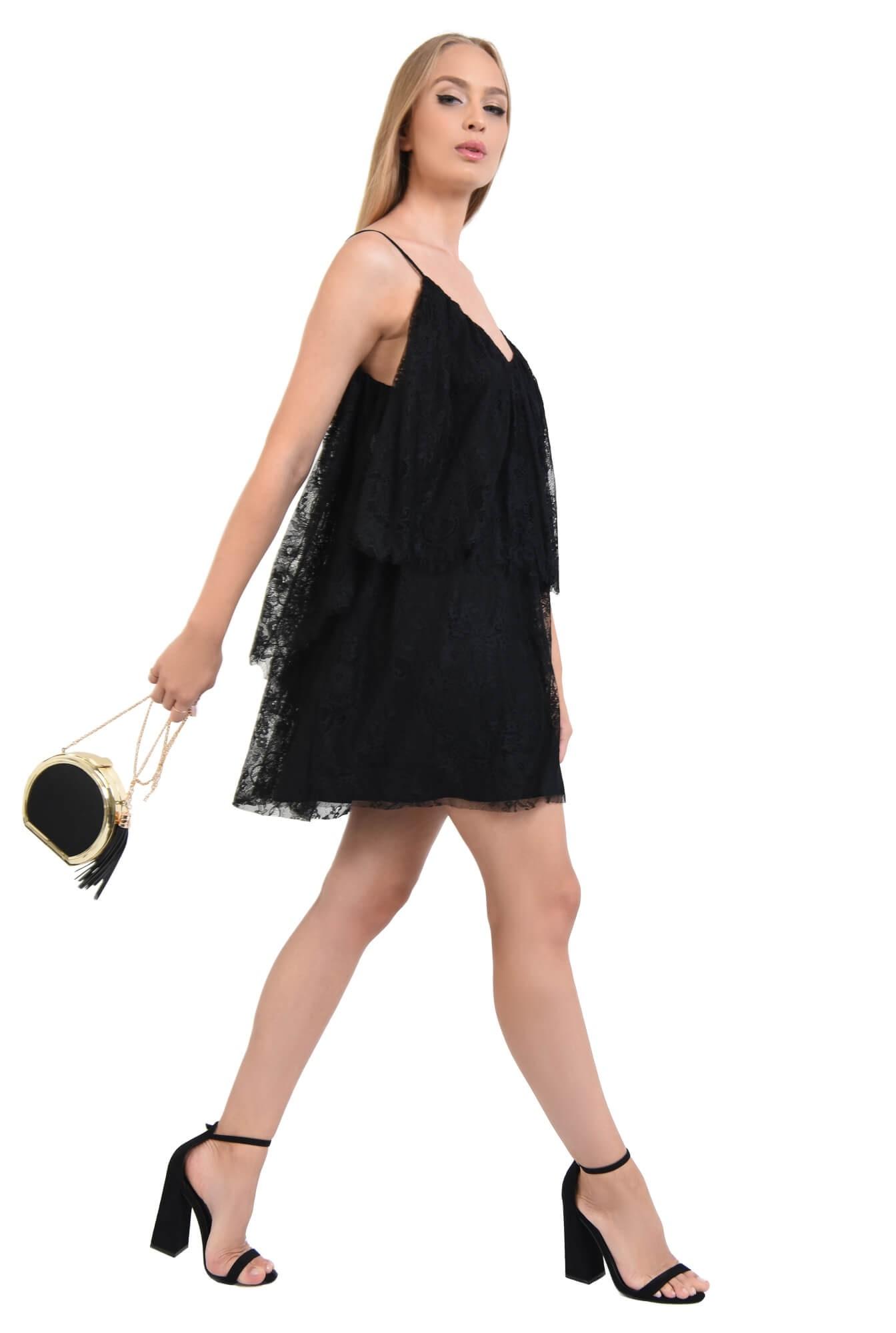 rochie de seara, scurta, din dantela, negru, bretele subtiri