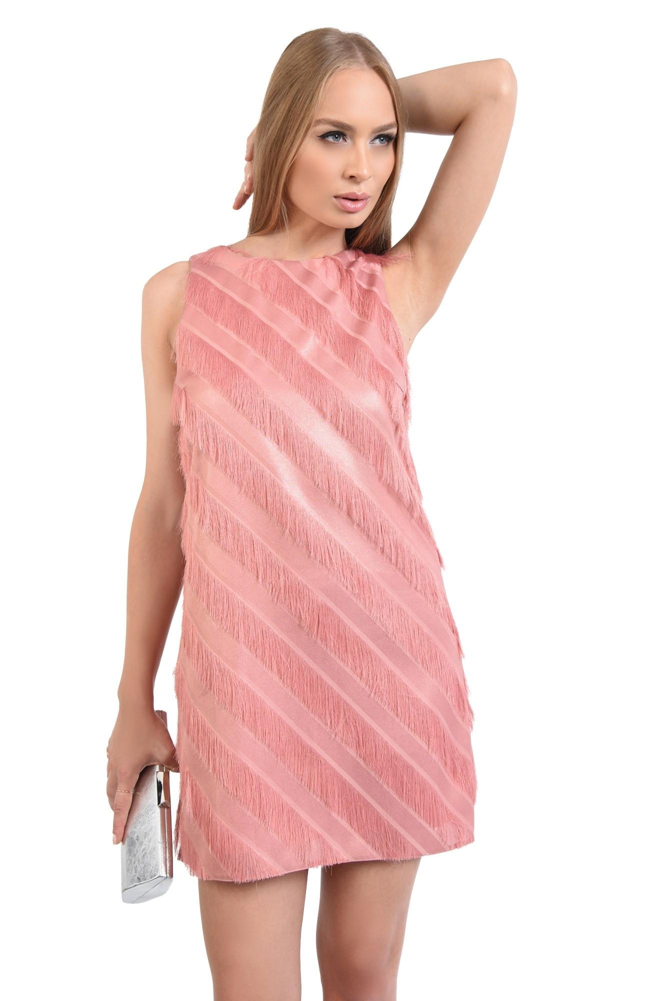 rochie de seara, scurta, cu franjuri, peach