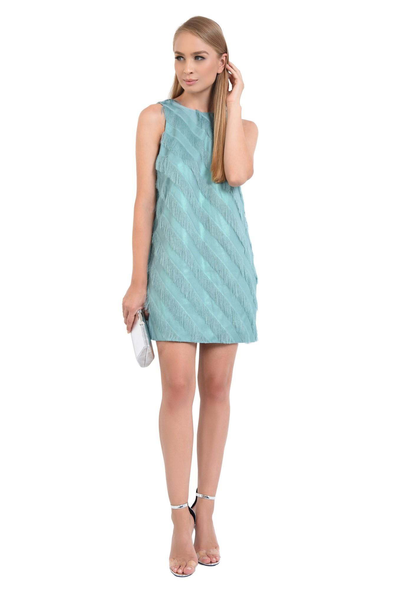 rochie de seara, turcoaz, franjuri