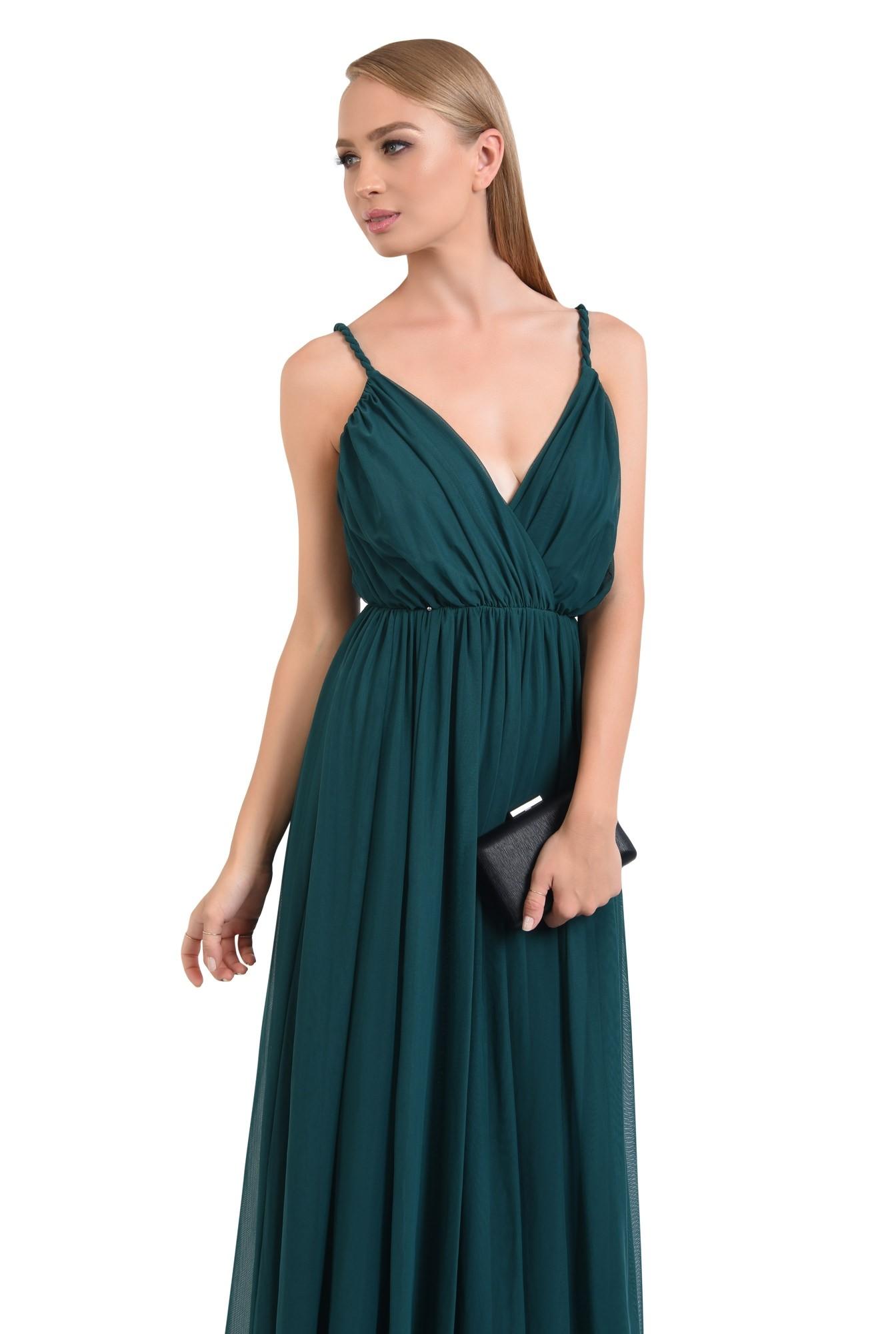 rochie de seara, lunga, din tul, bretele rasucite, verde inchis