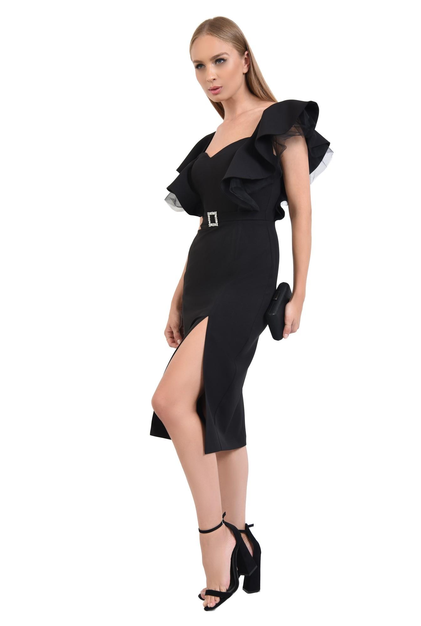 rochie de ocazie, negru, volane